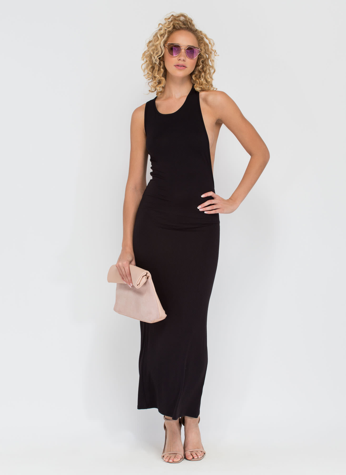 Go Halfsies Open Back Maxi Dress BLACK (Final Sale)