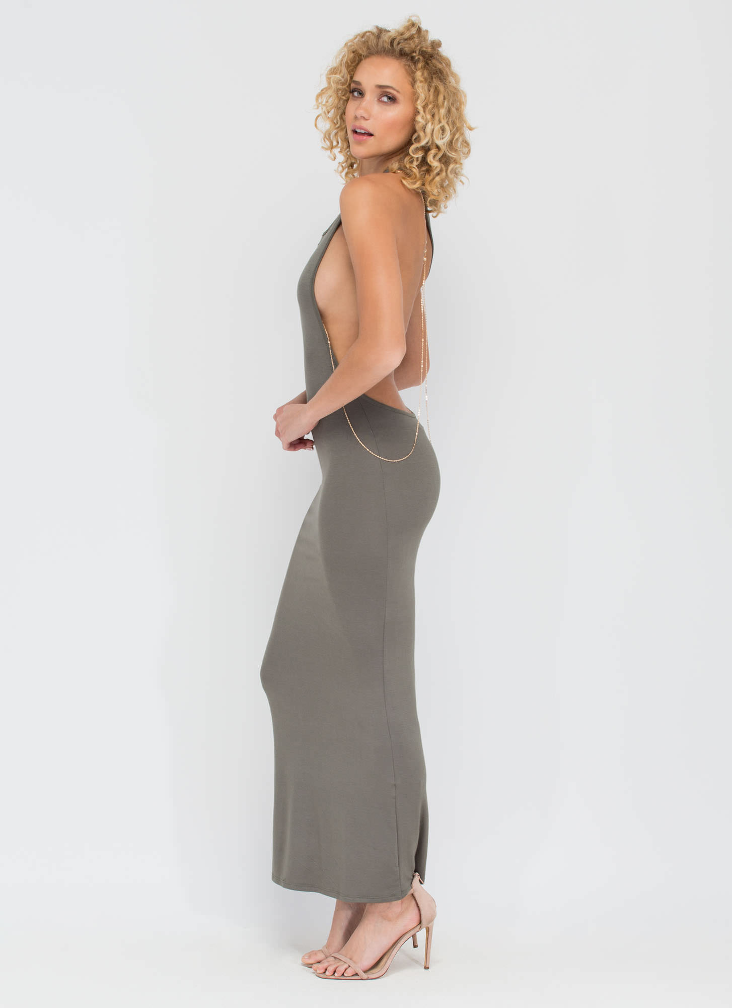 Go Halfsies Open Back Maxi Dress OLIVE (Final Sale)