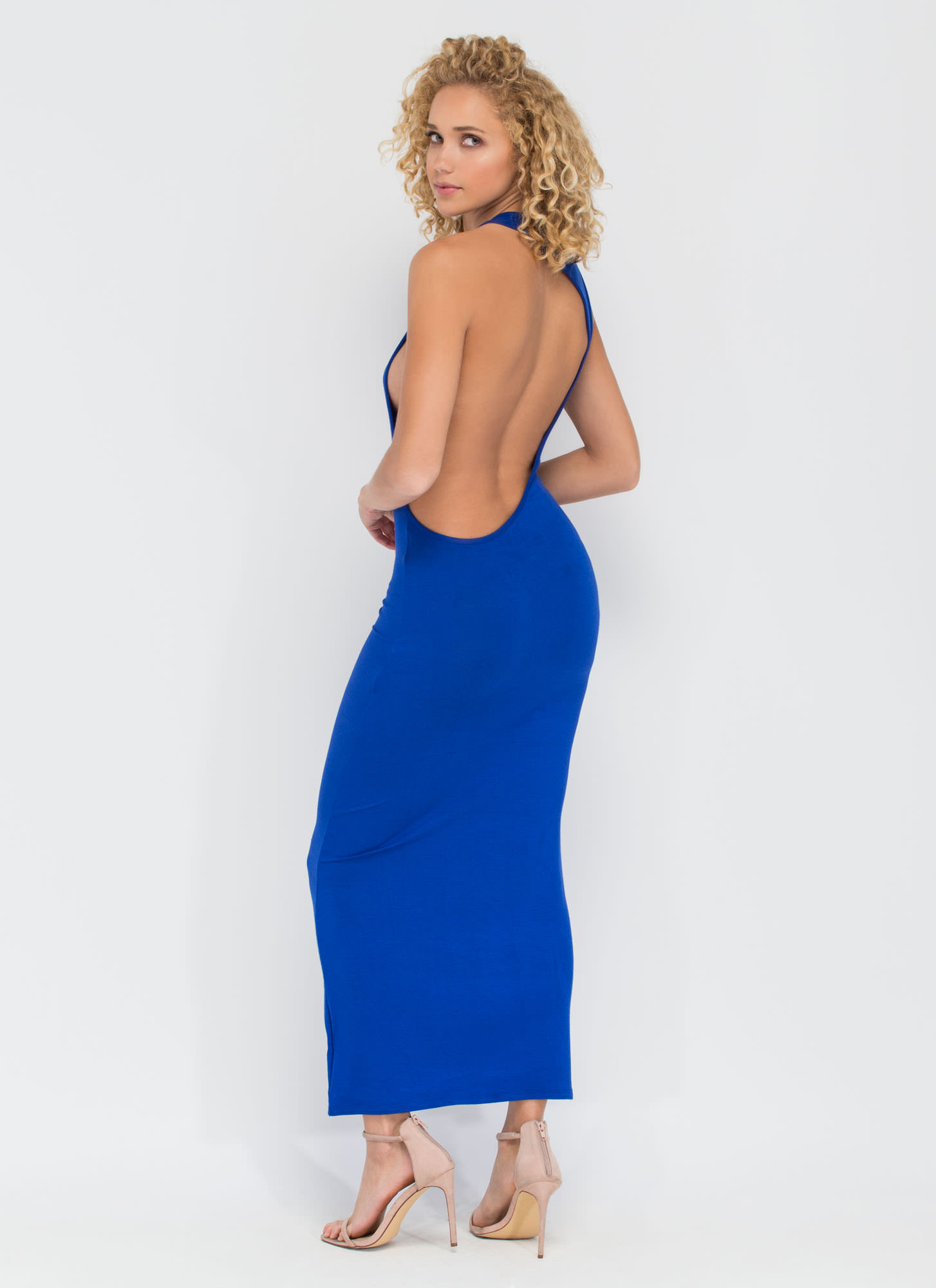 Go Halfsies Open Back Maxi Dress ROYAL (Final Sale)