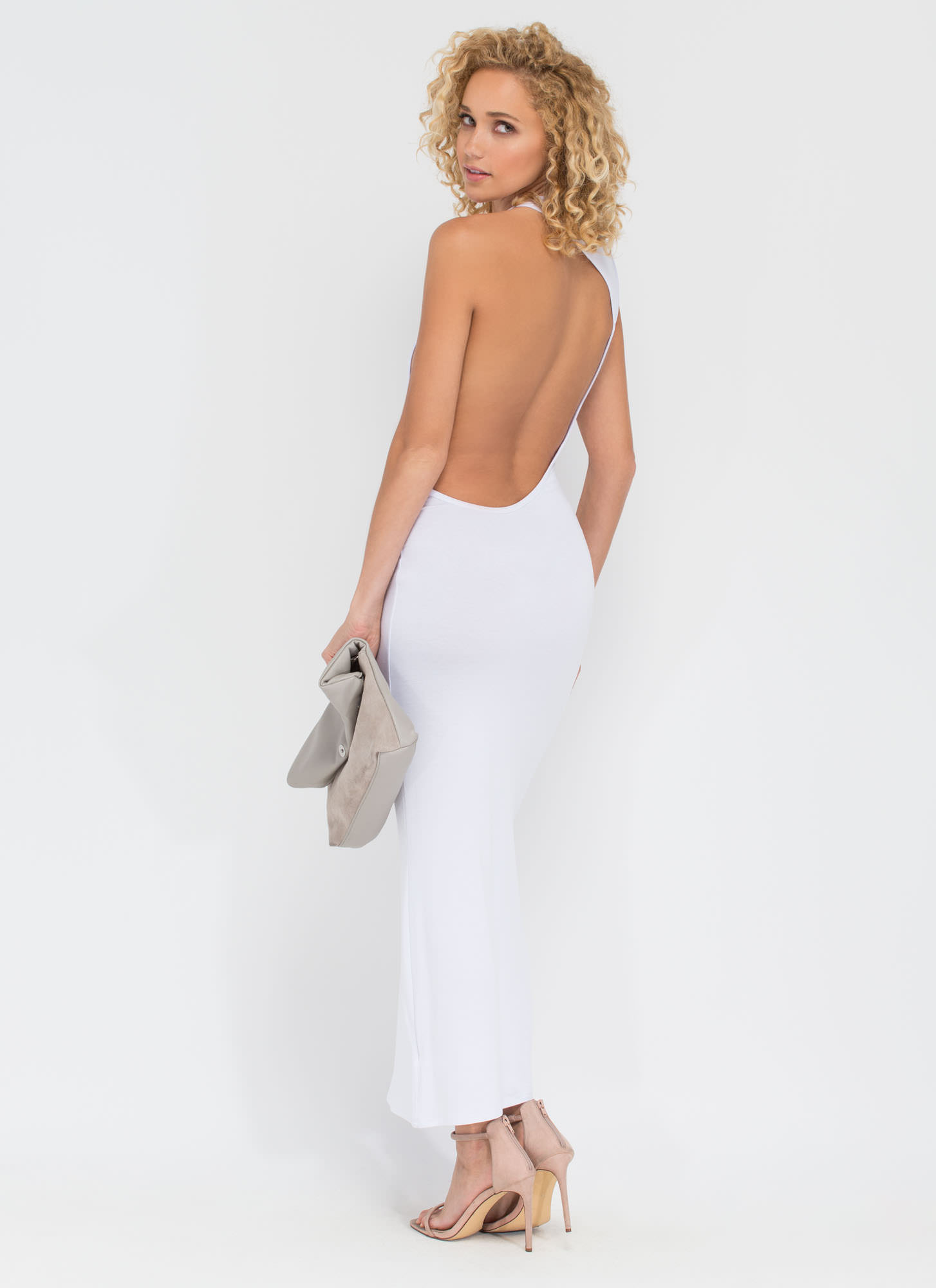 Go Halfsies Open Back Maxi Dress WHITE (Final Sale)