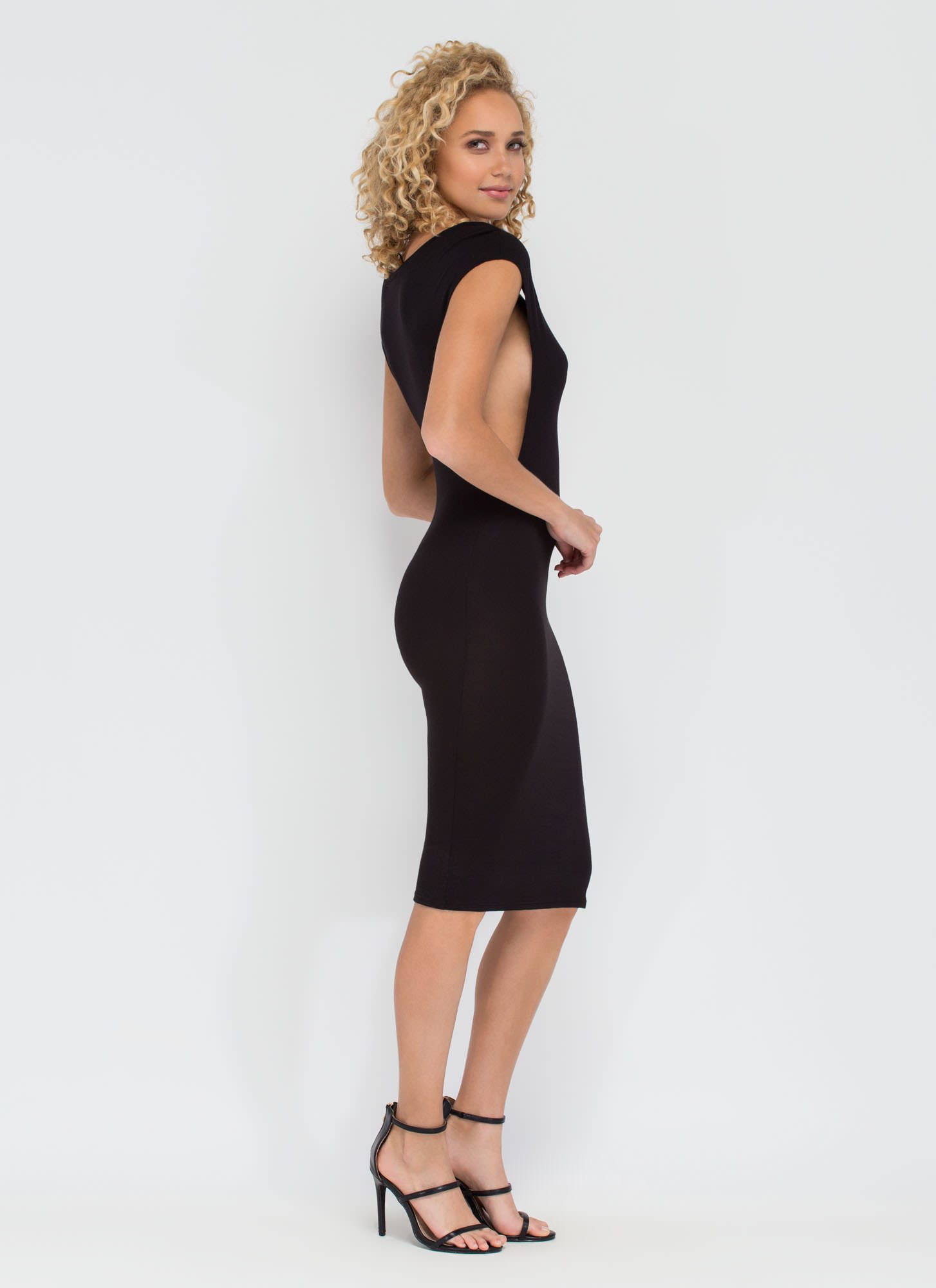 Flex Your Muscle Tee Midi Dress BLACK