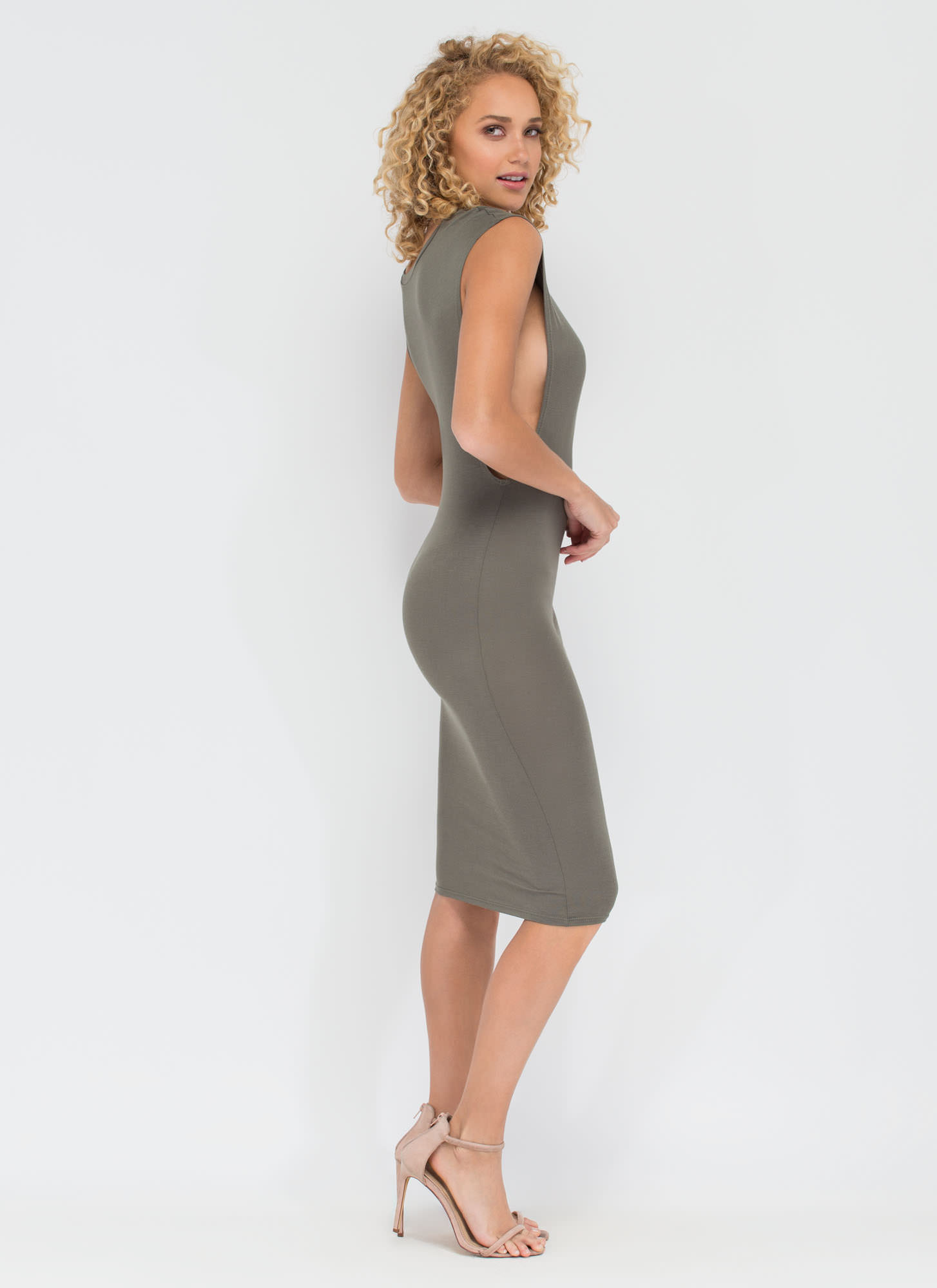 Flex Your Muscle Tee Midi Dress OLIVE
