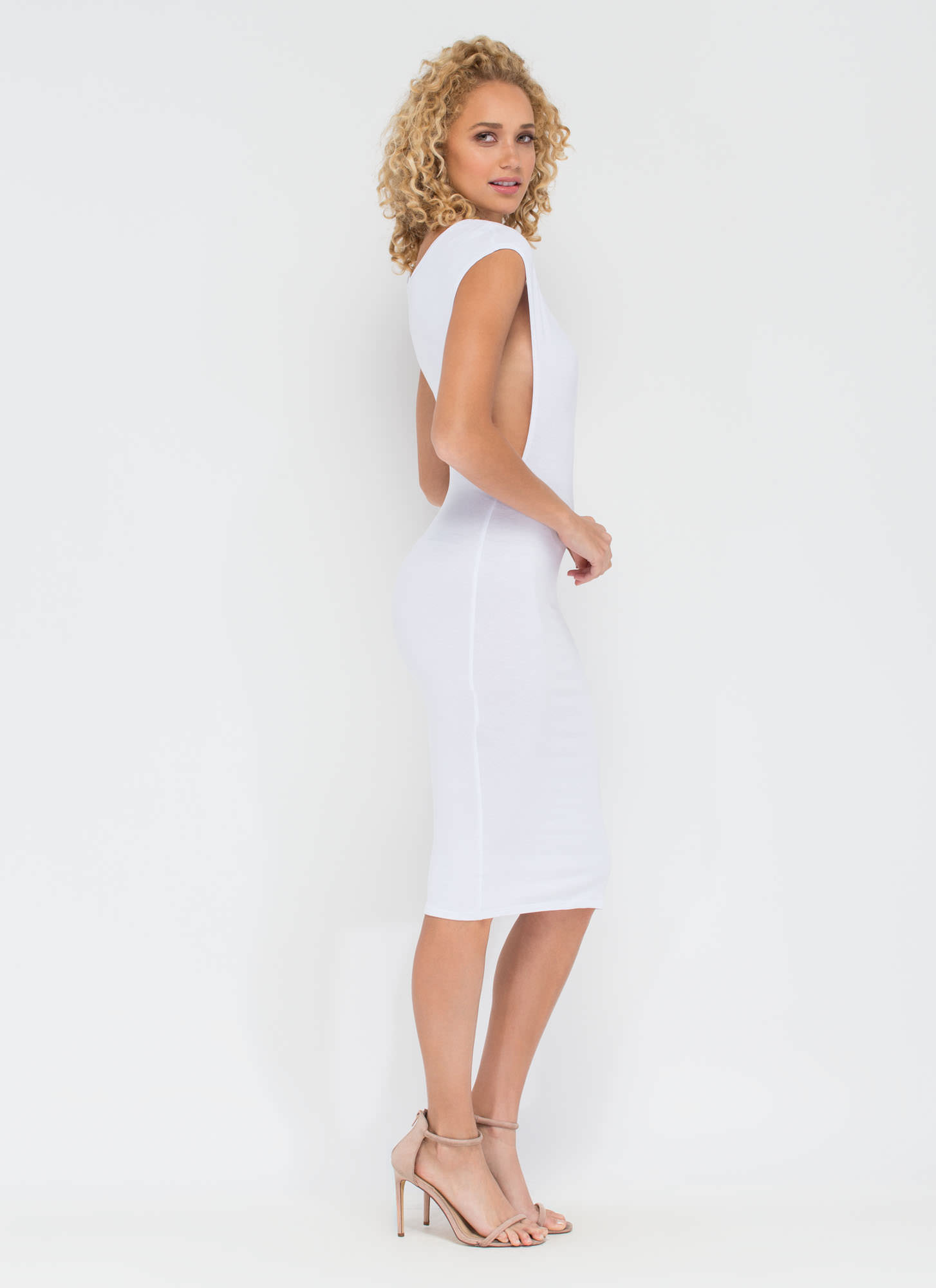 Flex Your Muscle Tee Midi Dress WHITE