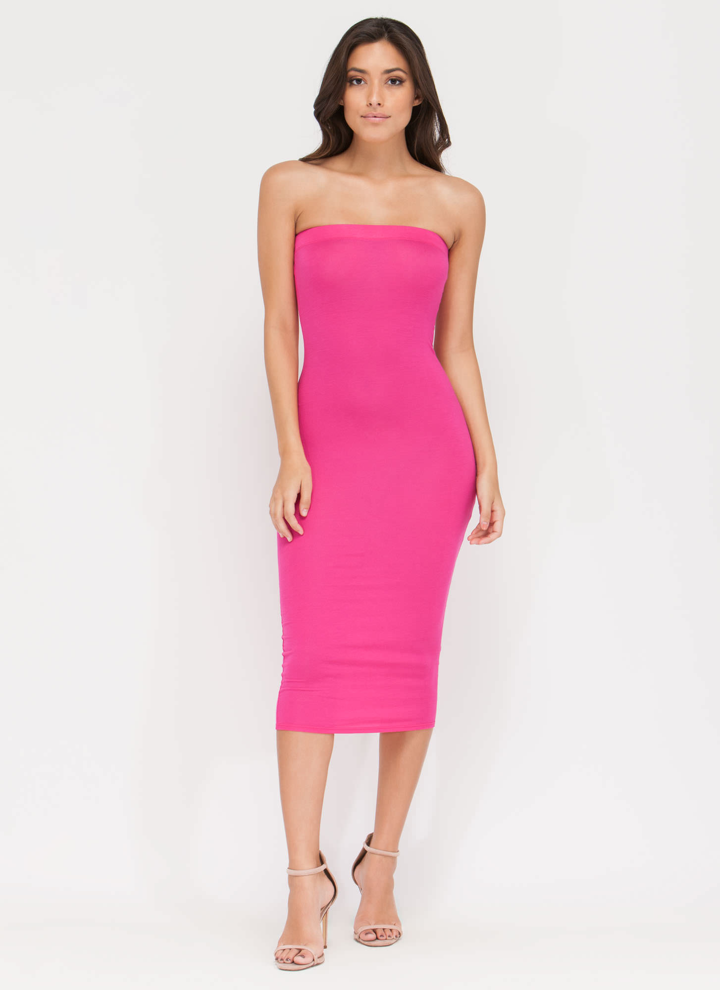 Keep It Simple Tube Midi Dress FUCHSIA