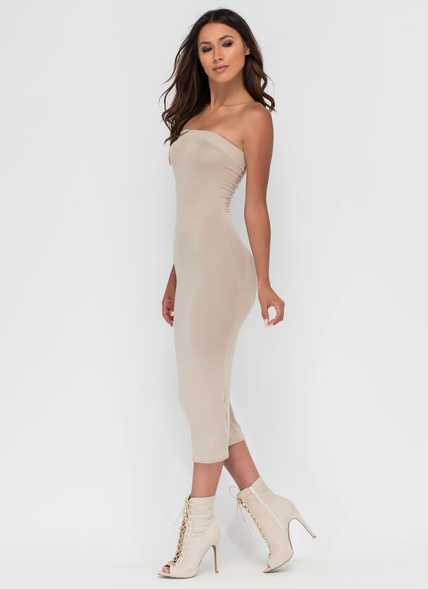 Keep It Simple Tube Midi Dress NUDE