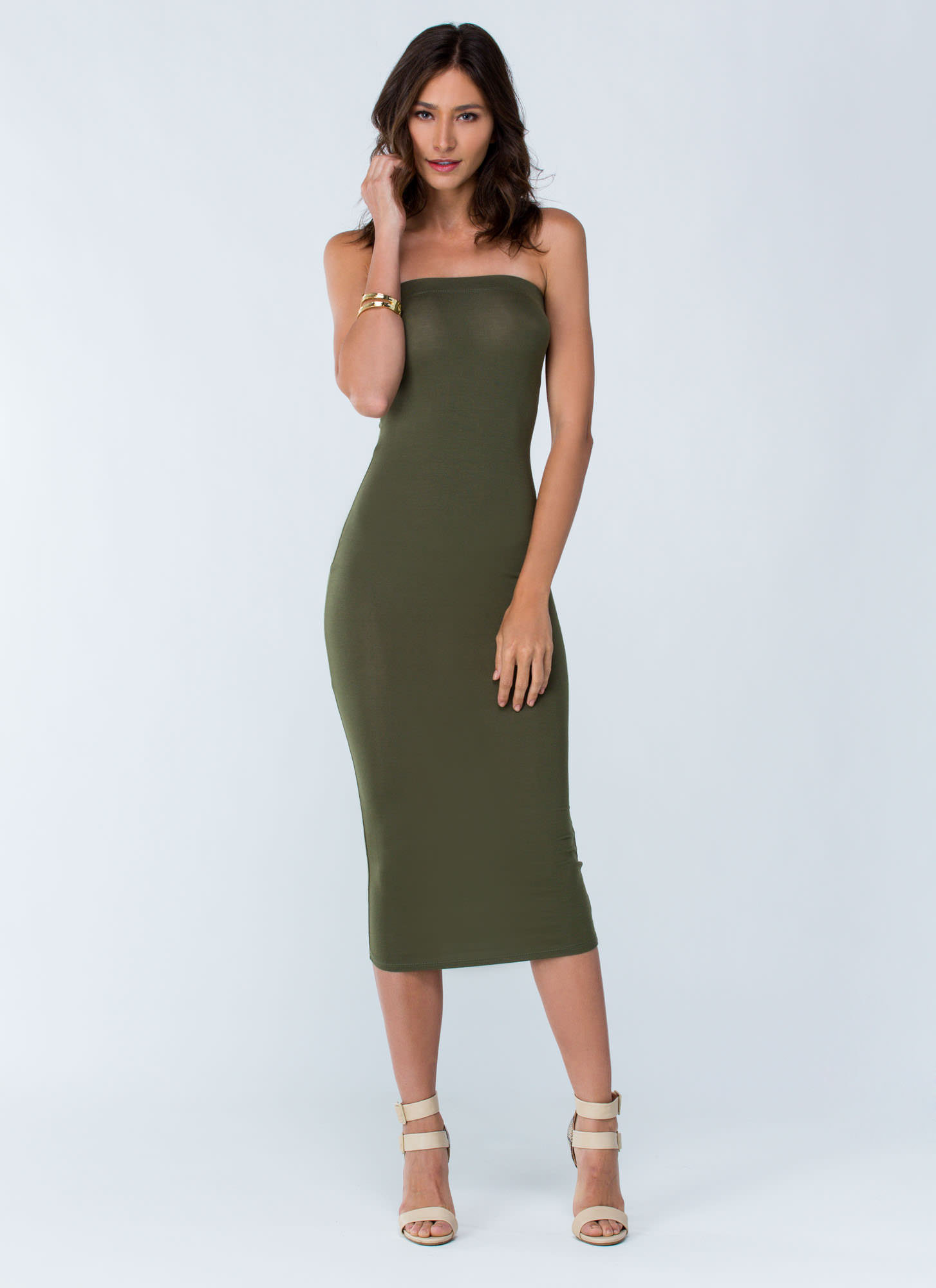 Keep It Simple Tube Midi Dress YELLOW NUDE OLIVE BLACK ROYAL RUST WHITE FUCHSIA - GoJane.com