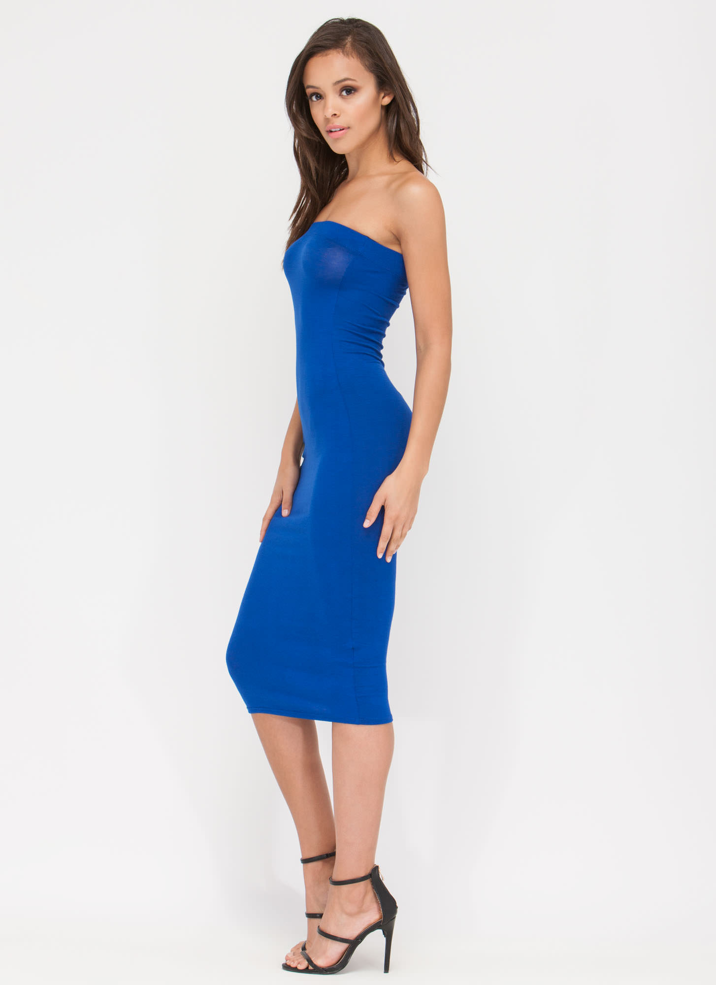 Keep It Simple Tube Midi Dress ROYAL