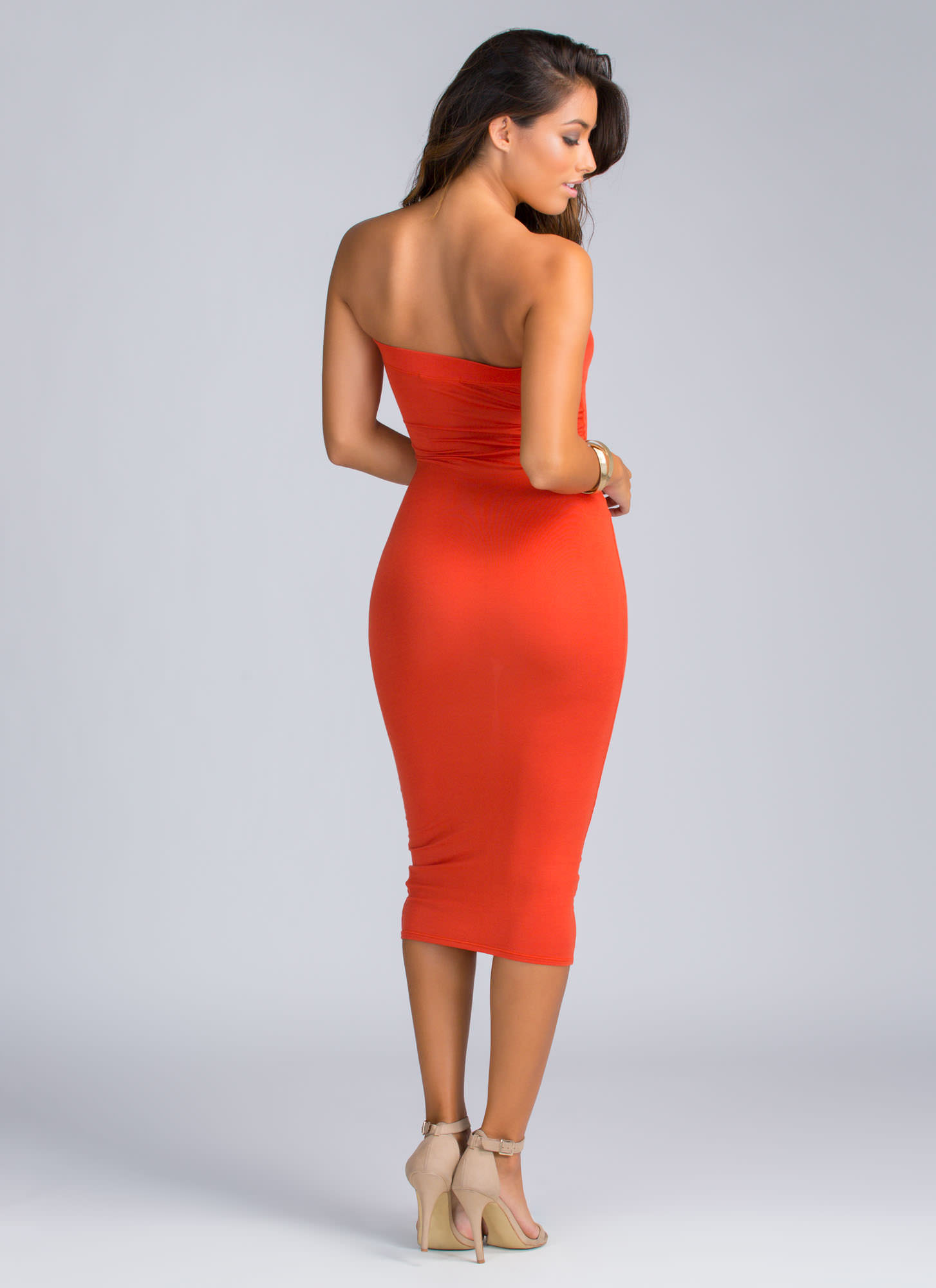 Keep It Simple Tube Midi Dress RUST