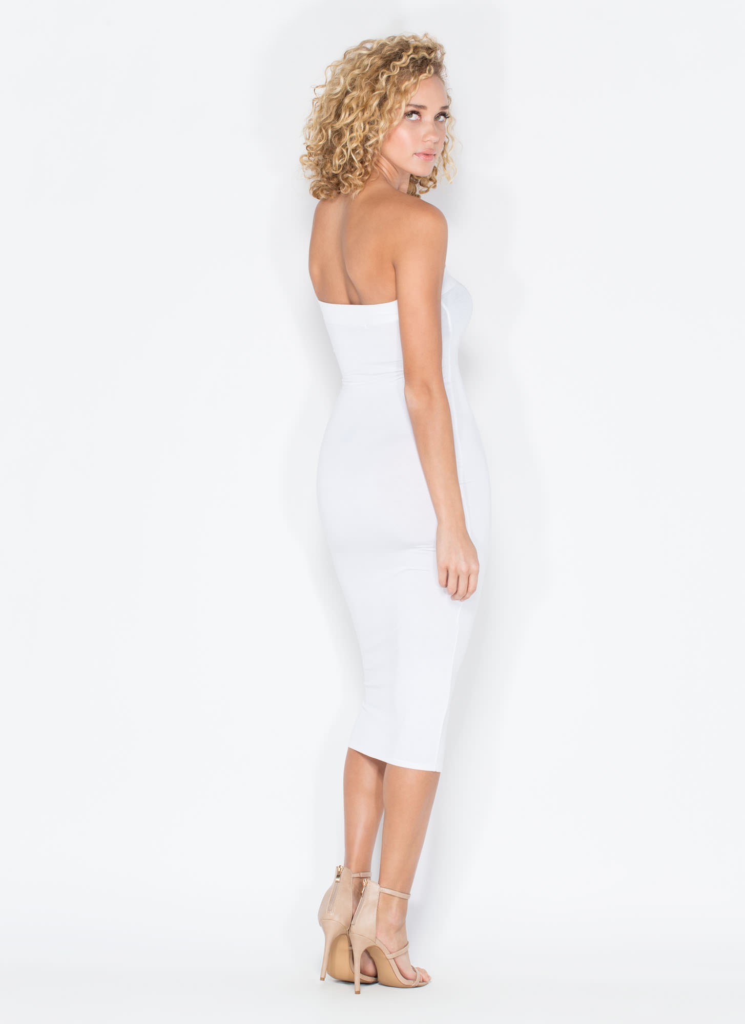 Keep It Simple Tube Midi Dress WHITE