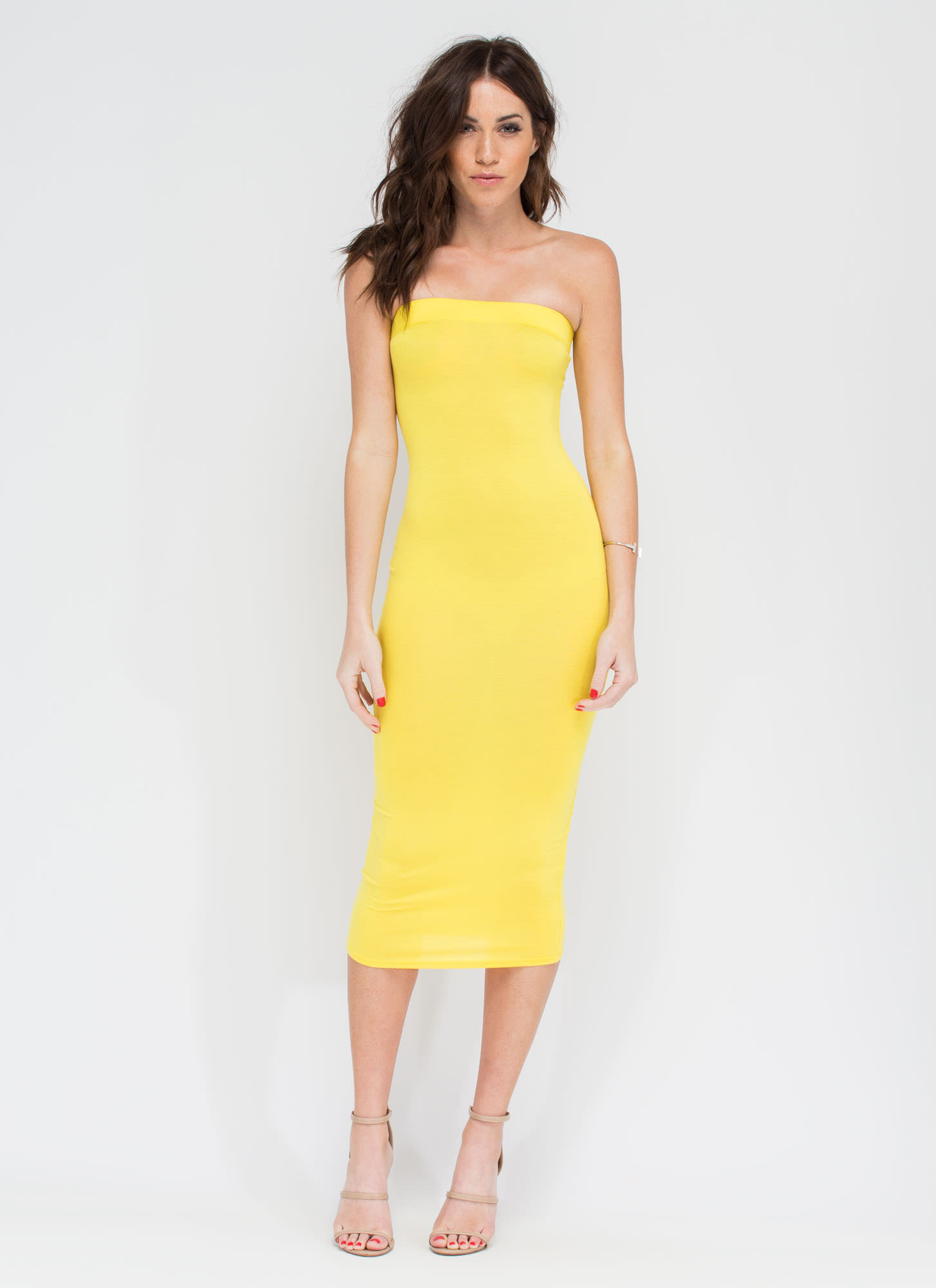 Keep It Simple Tube Midi Dress YELLOW
