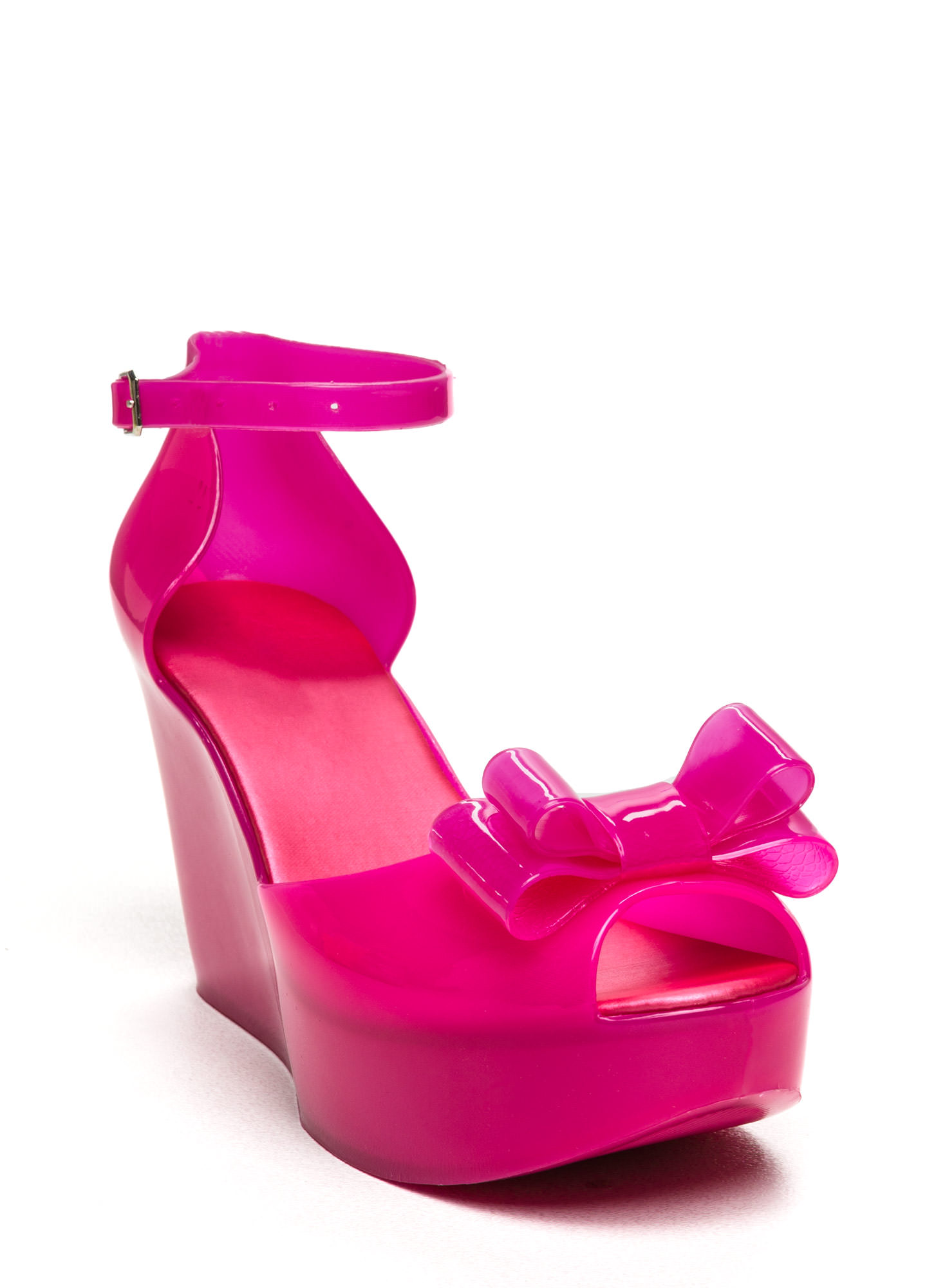 Bow Ahead Ankle Strap Jelly Wedges FUCHSIA