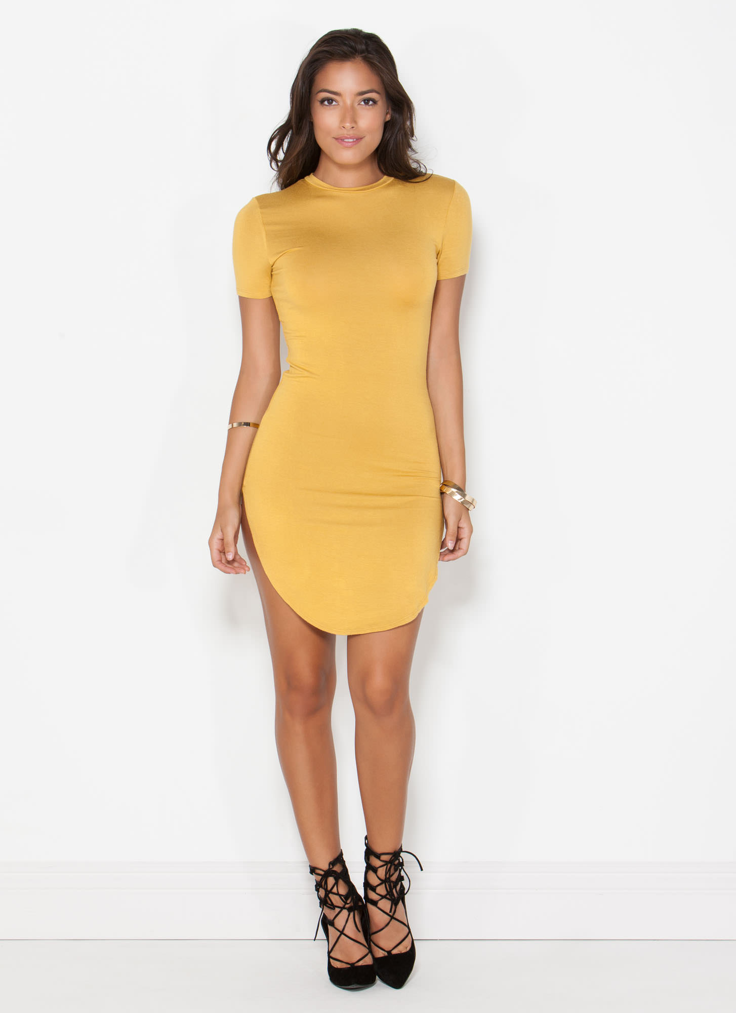Basically Chic Bodycon Dress MUSTARD