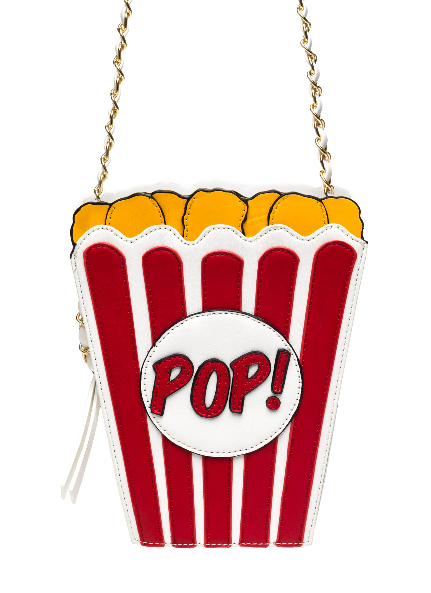 Popcorn Art Faux Leather Clutch REDMULTI