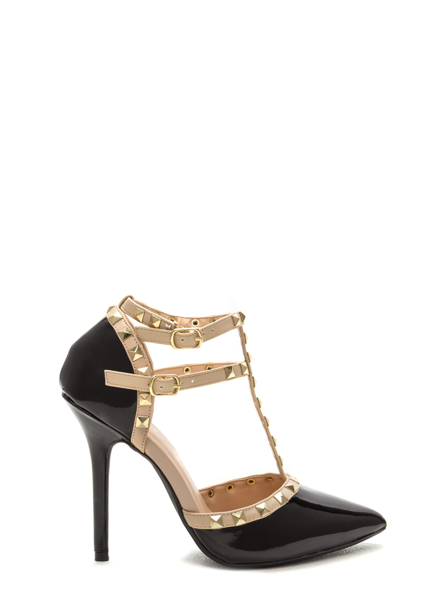 Rock Out Studded Faux Patent Heels BLACK