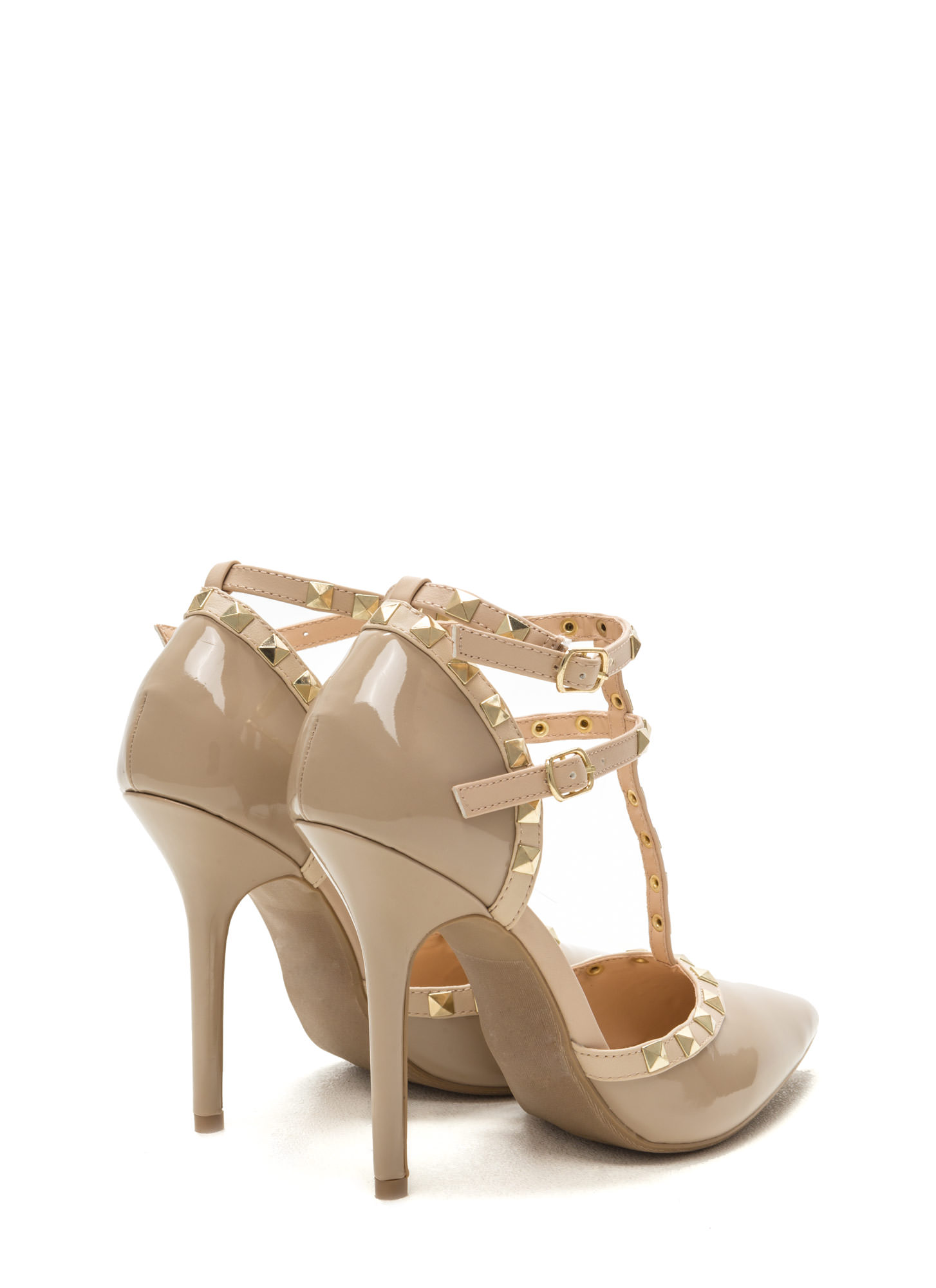 Rock Out Studded Faux Patent Heels NATURAL