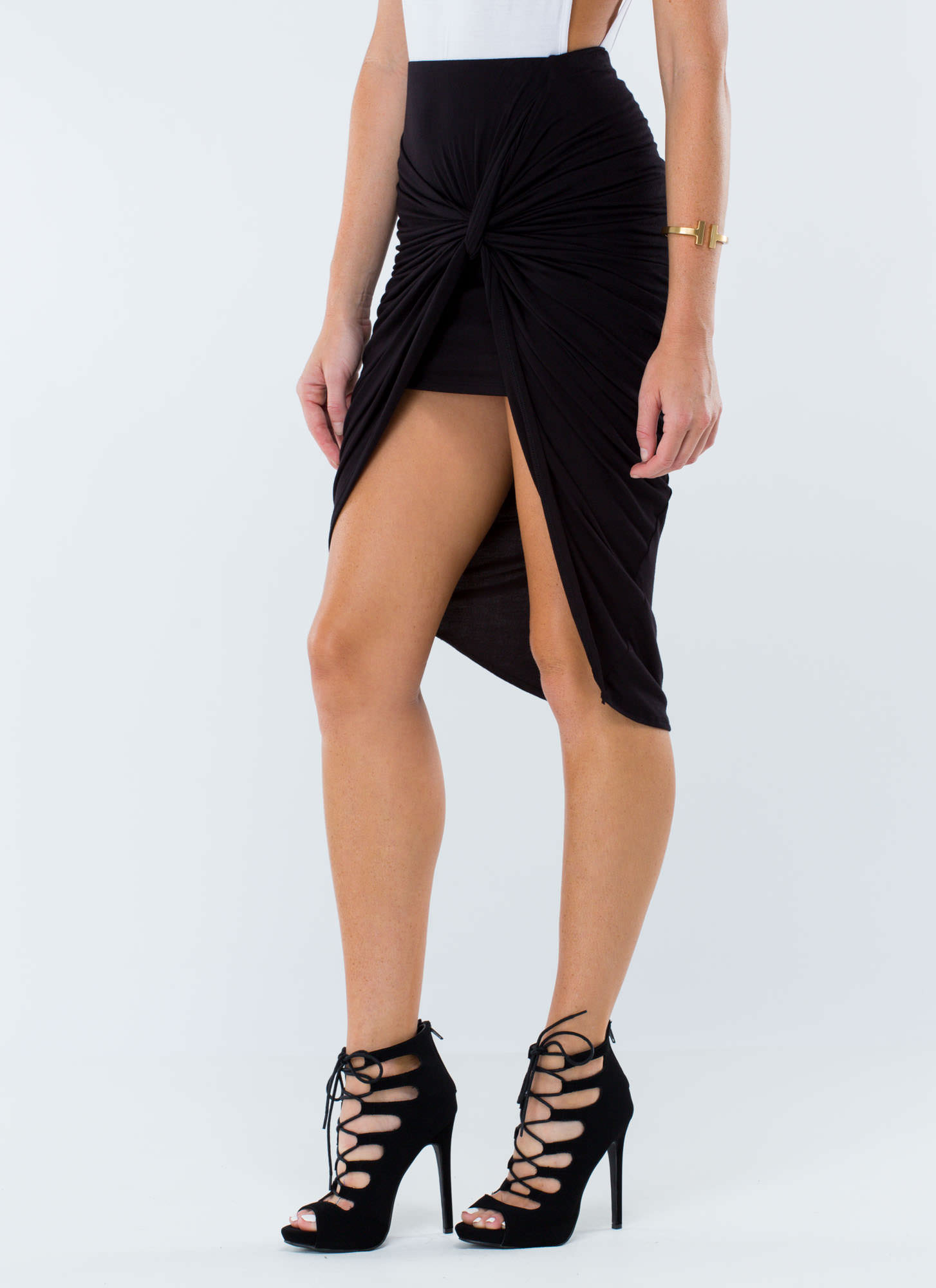 Knotty Girl High-Low Skirt BLACK
