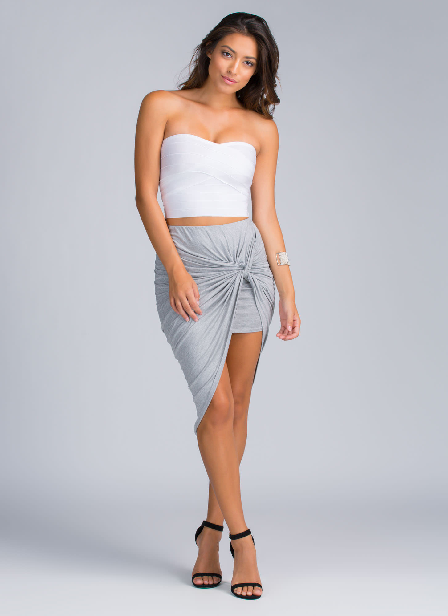 Knotty Girl High-Low Skirt HGREY