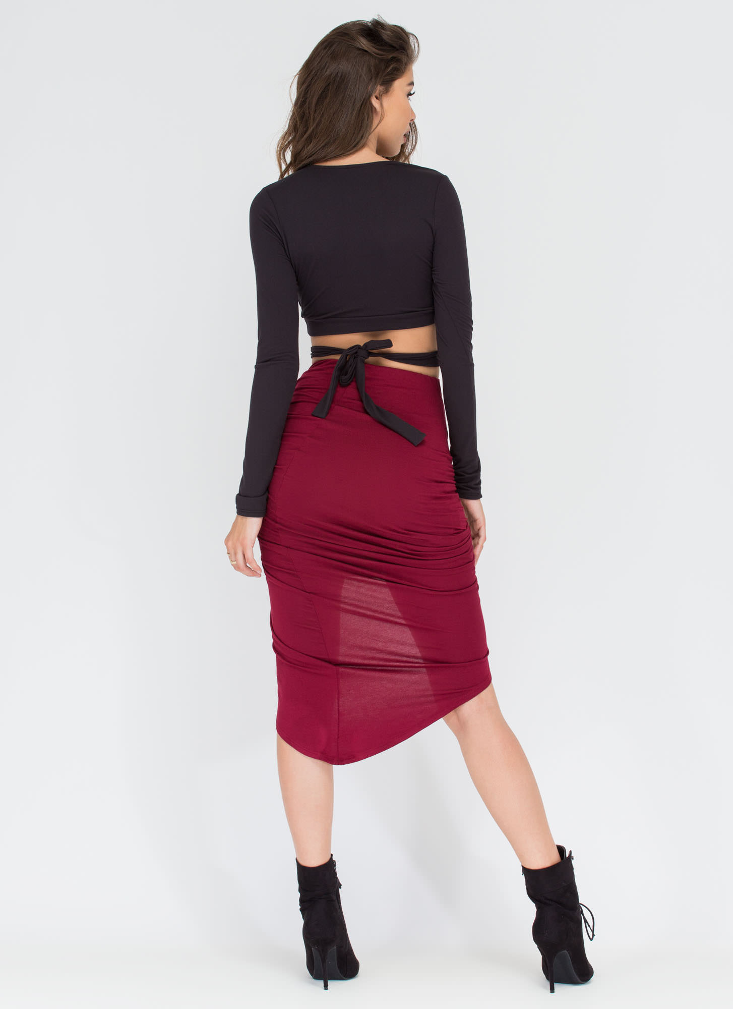 Knotty Girl High-Low Skirt WINE