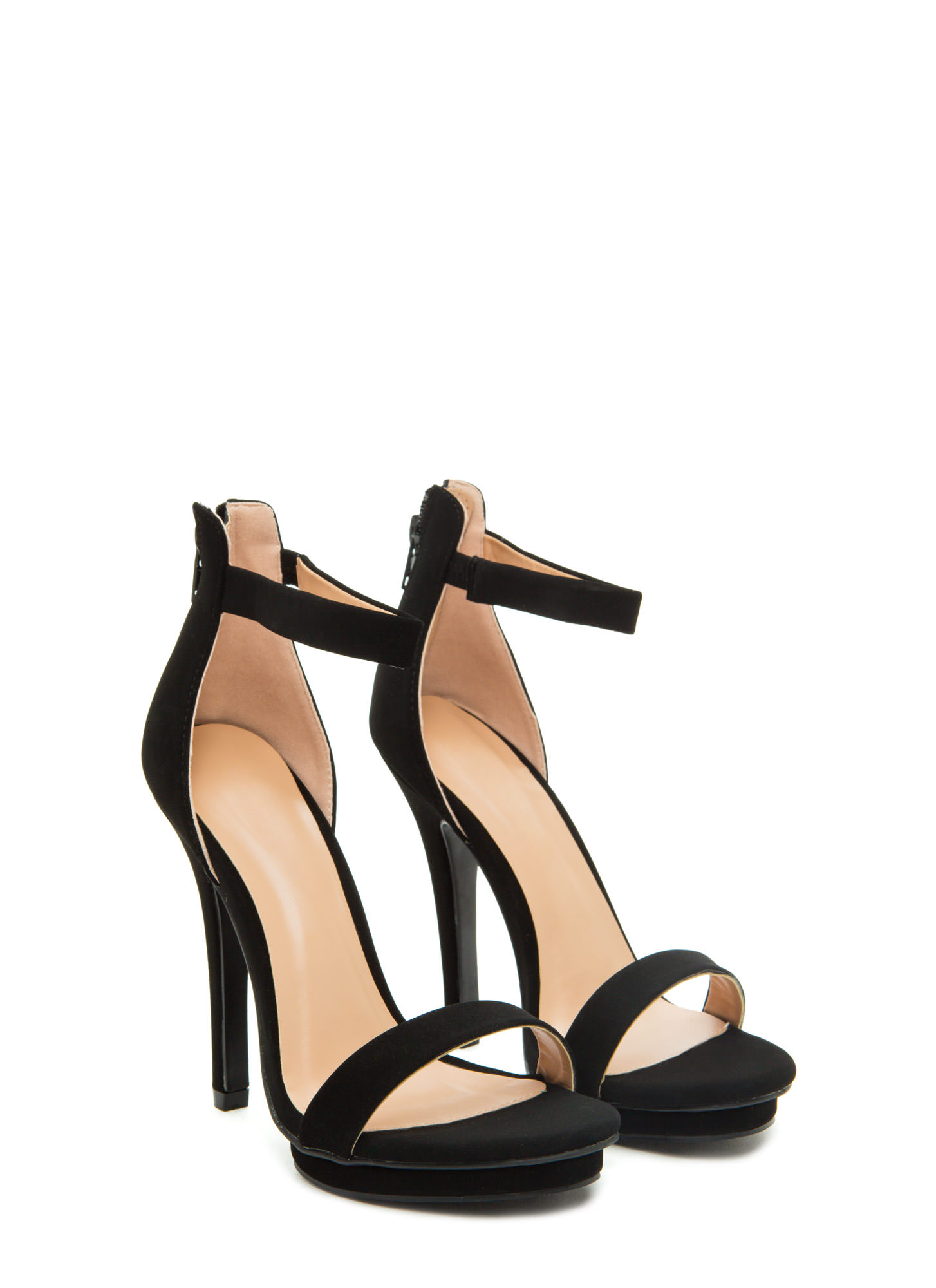 Step On It Open-Toe Platform Heels BLACK