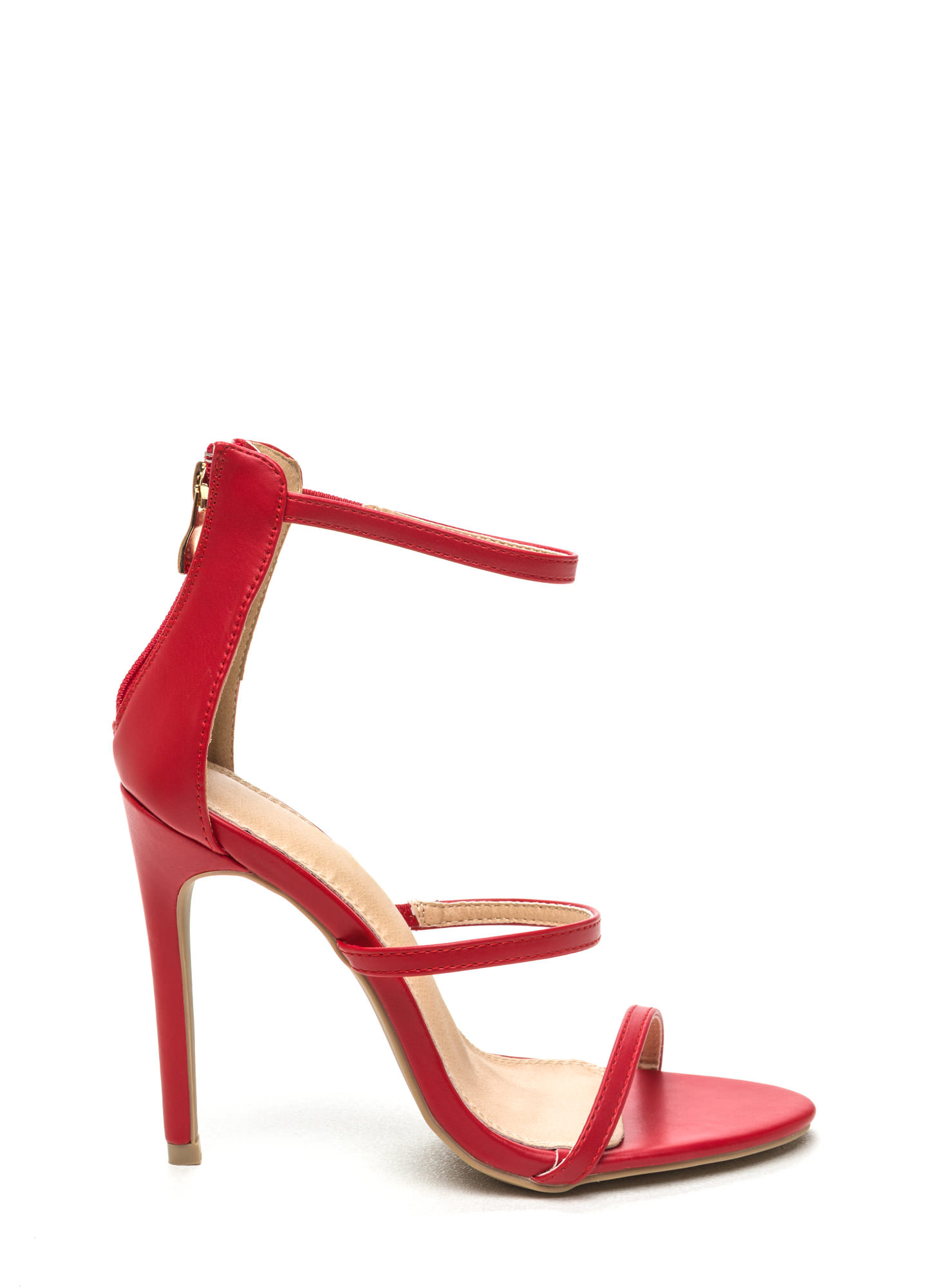 Strappy Life Single-Sole Heels RED