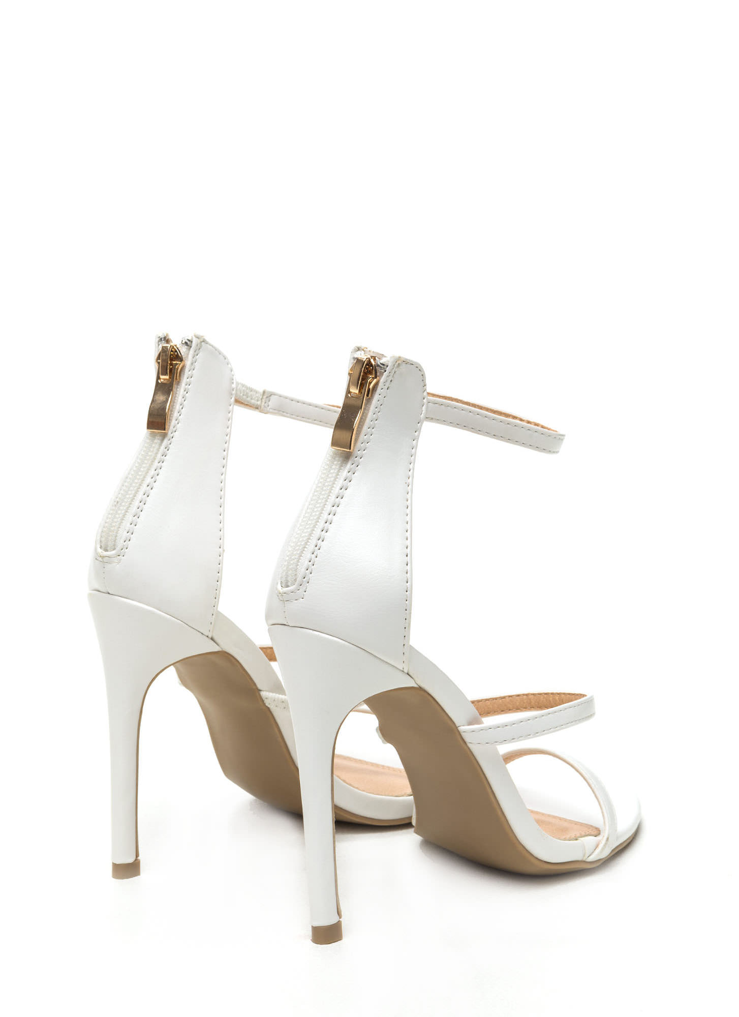 Strappy Life Single-Sole Heels WHITE