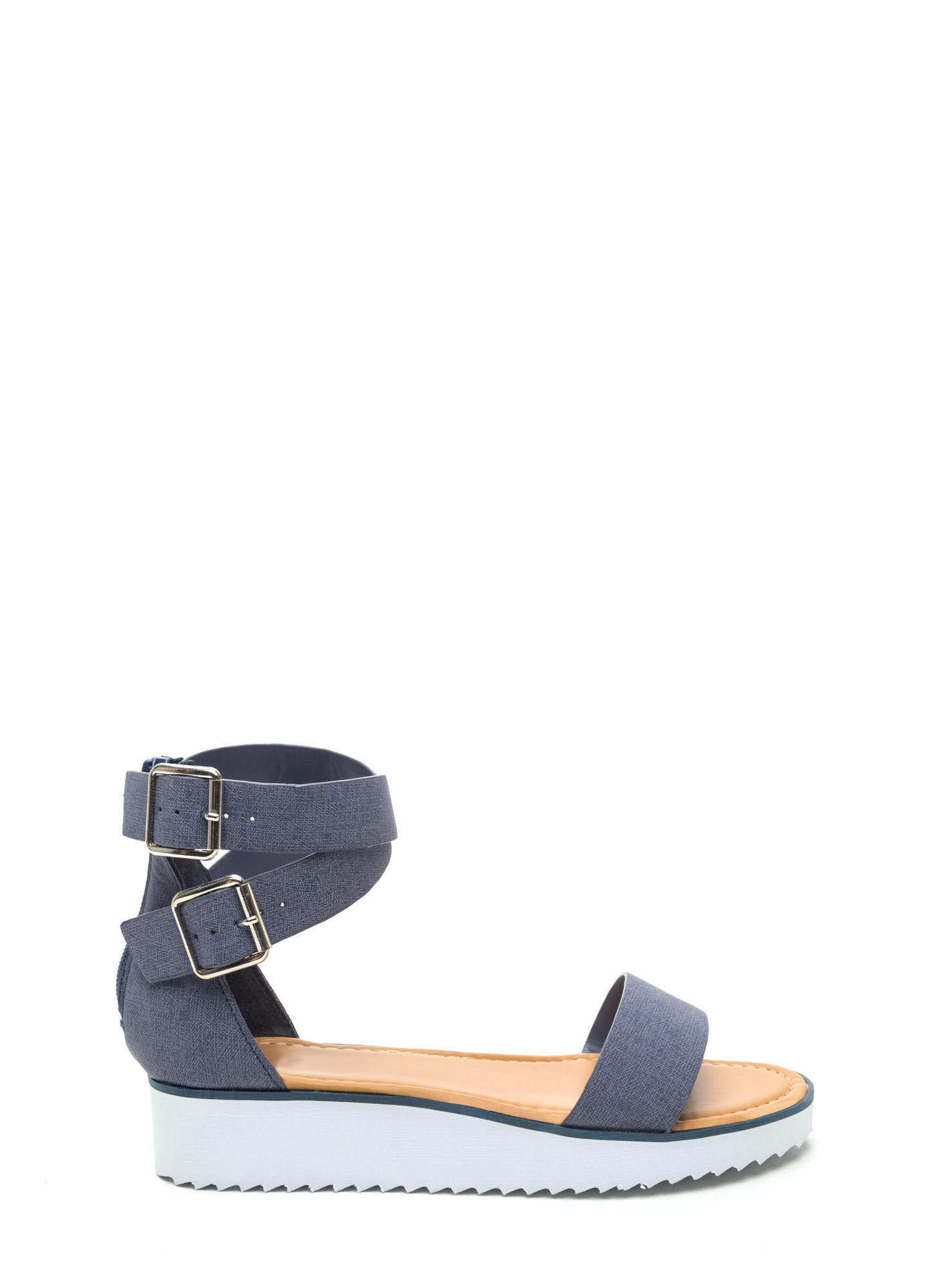 Cross Over Denim Print Sandals DENIM