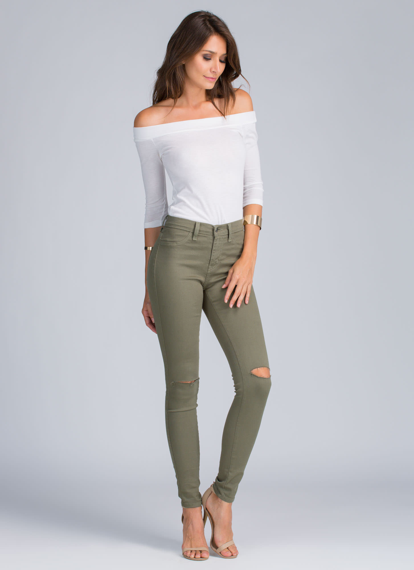 High Waisted Green Jeans