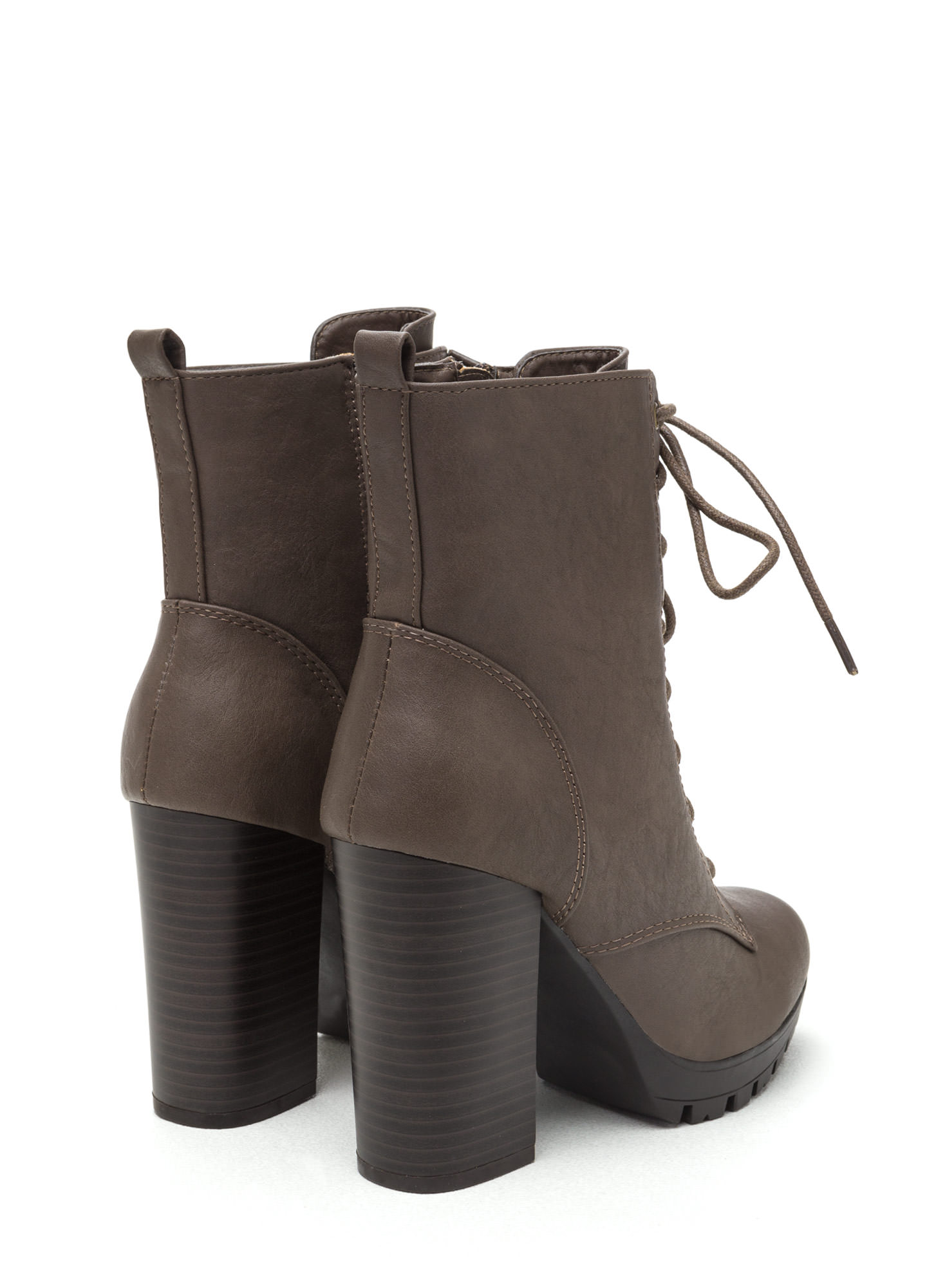 Cool Combat Lace-Up Lug Booties TAUPE