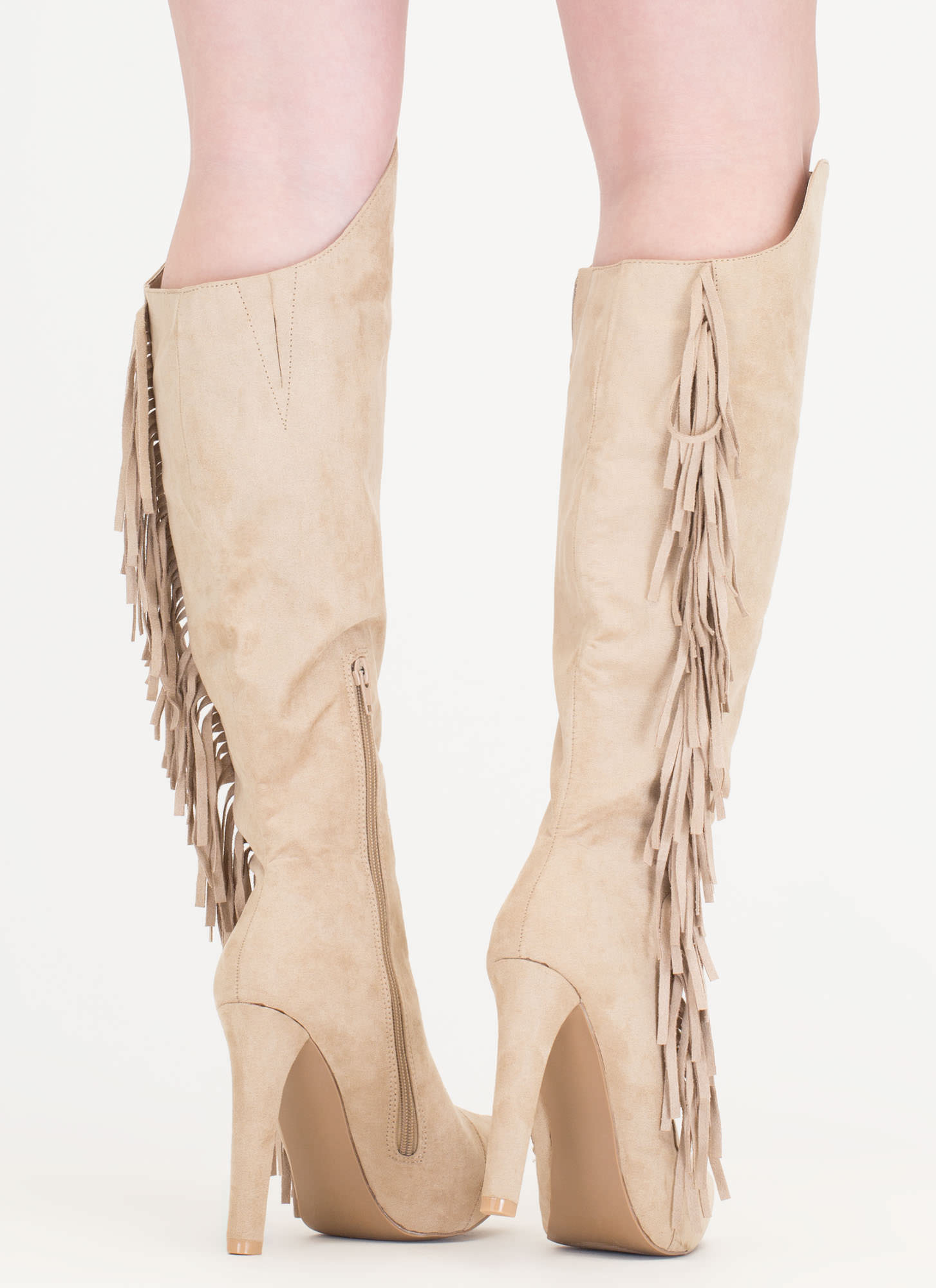 Long Live Fringe Over-The-Knee Boots TAUPE