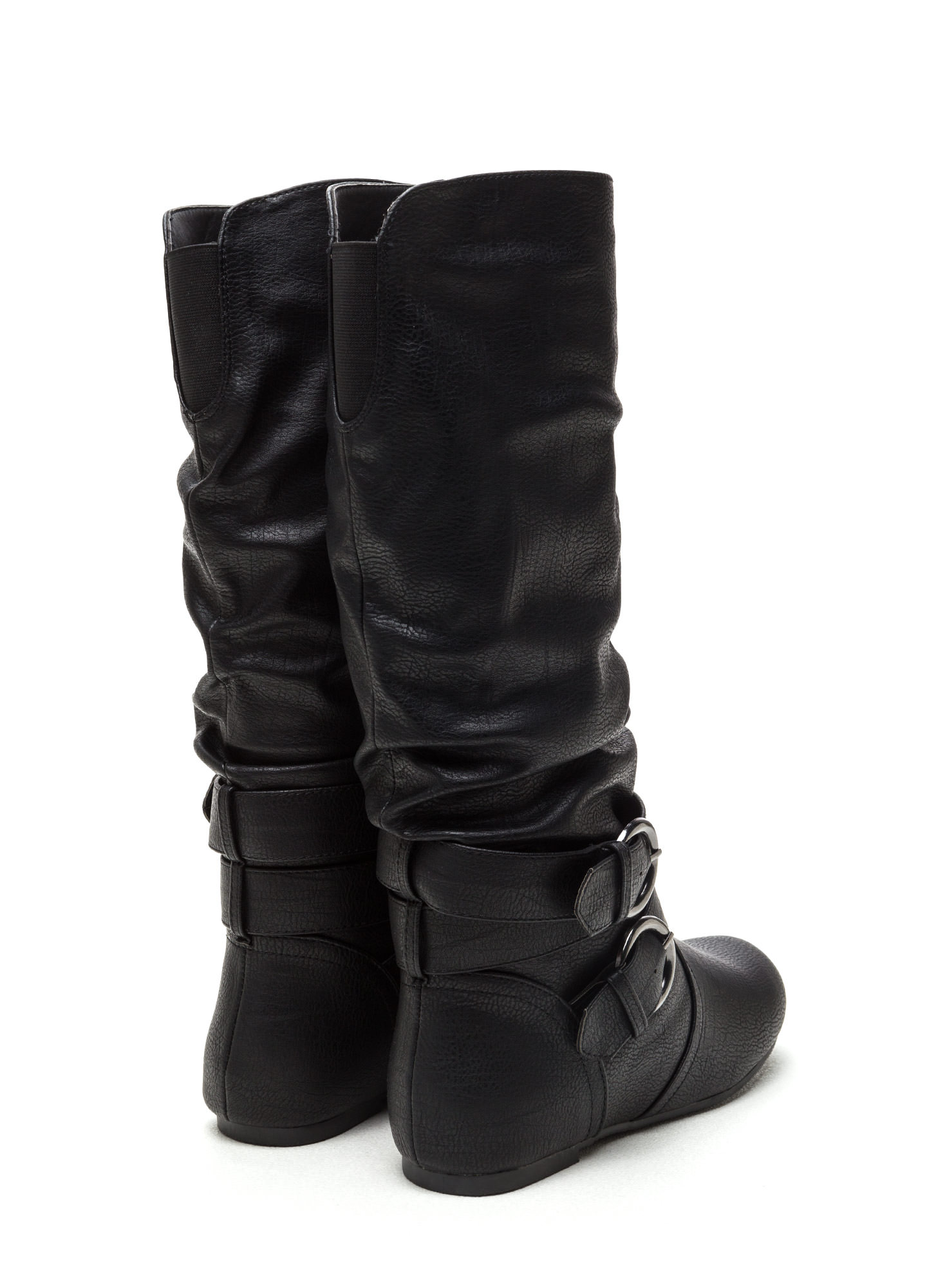 Step On It Faux Leather Boots BLACK