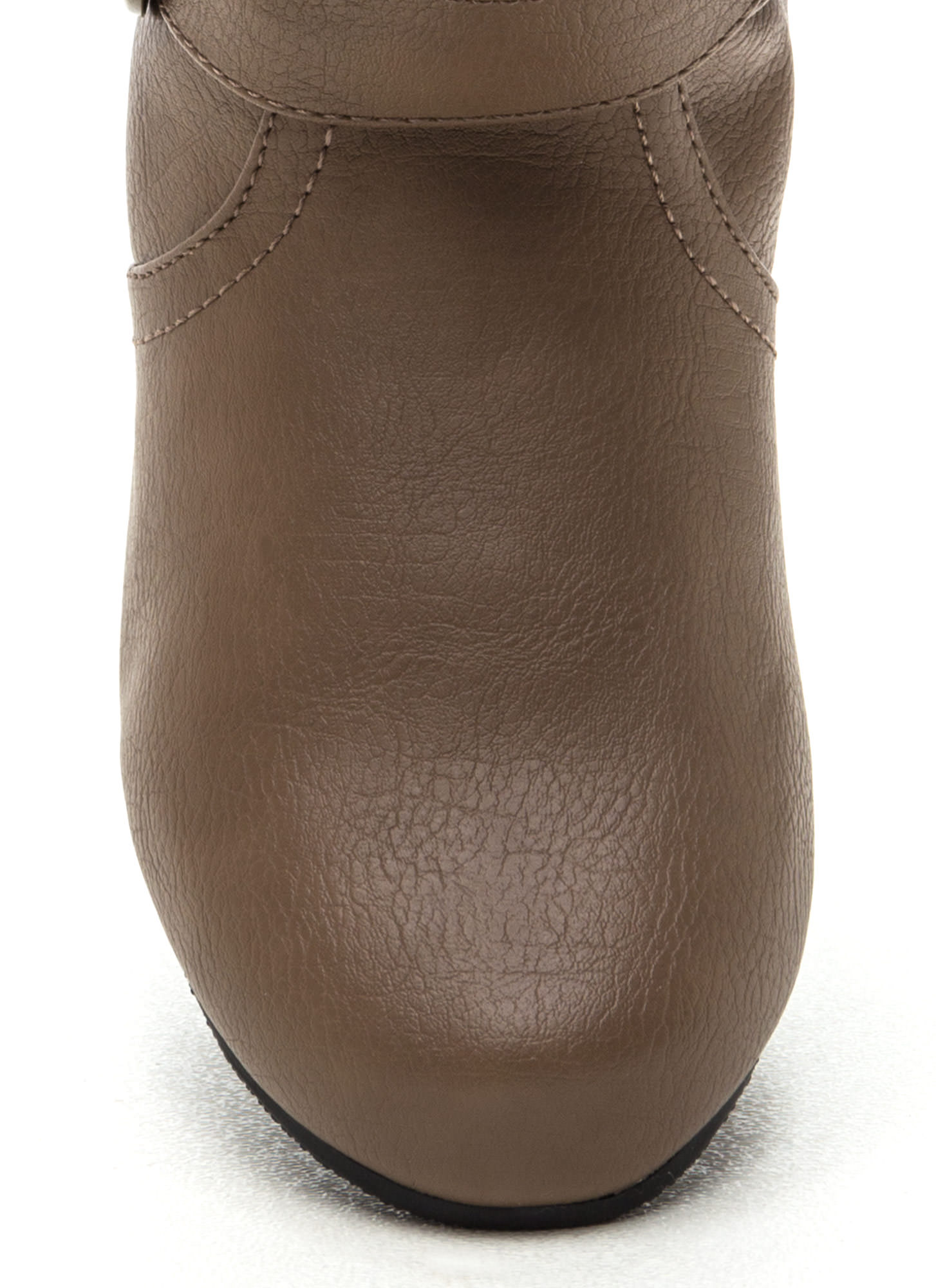 Step On It Faux Leather Boots TAUPE
