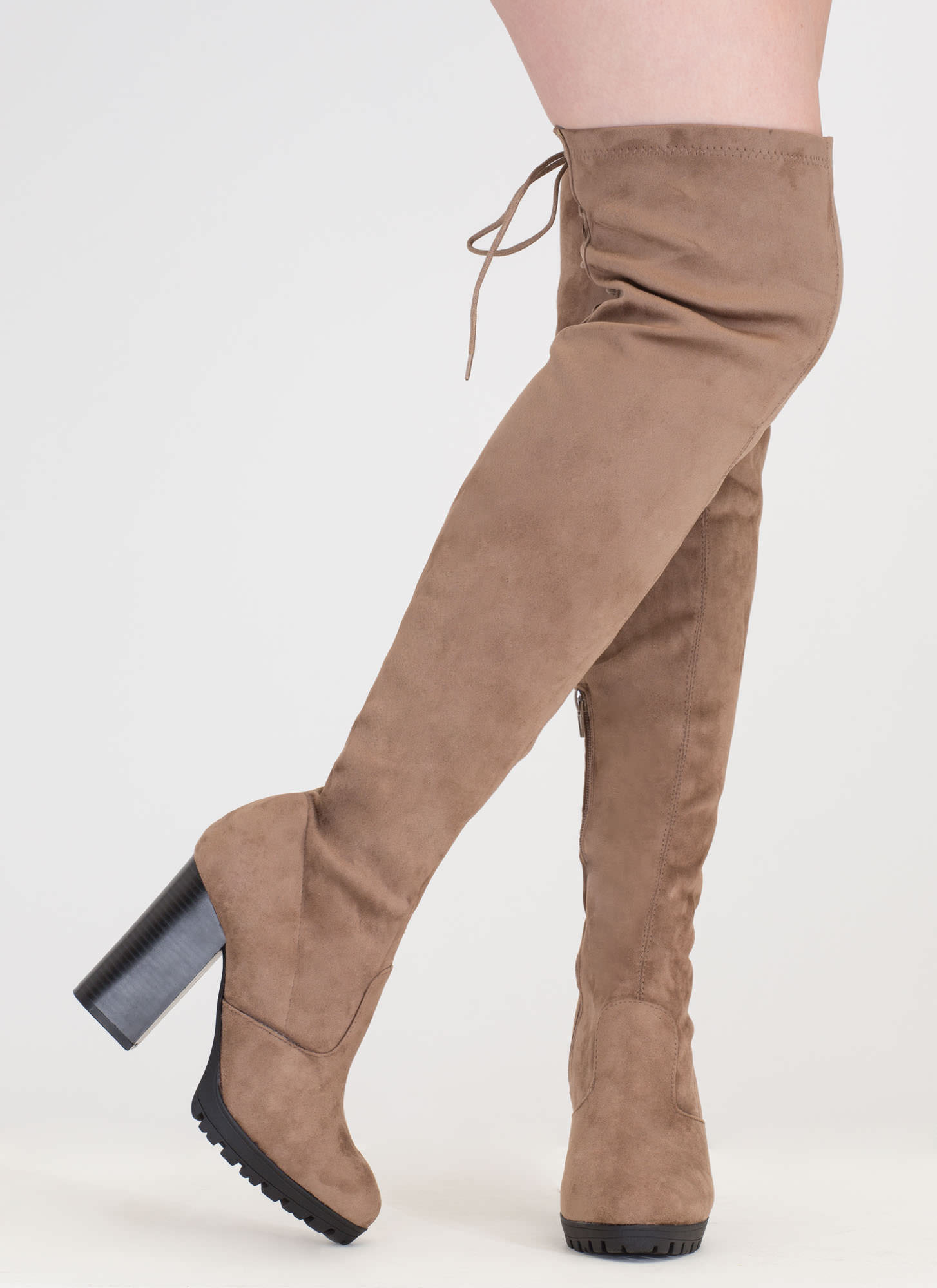 Laced Into Action Over-The-Knee Boots TAUPE