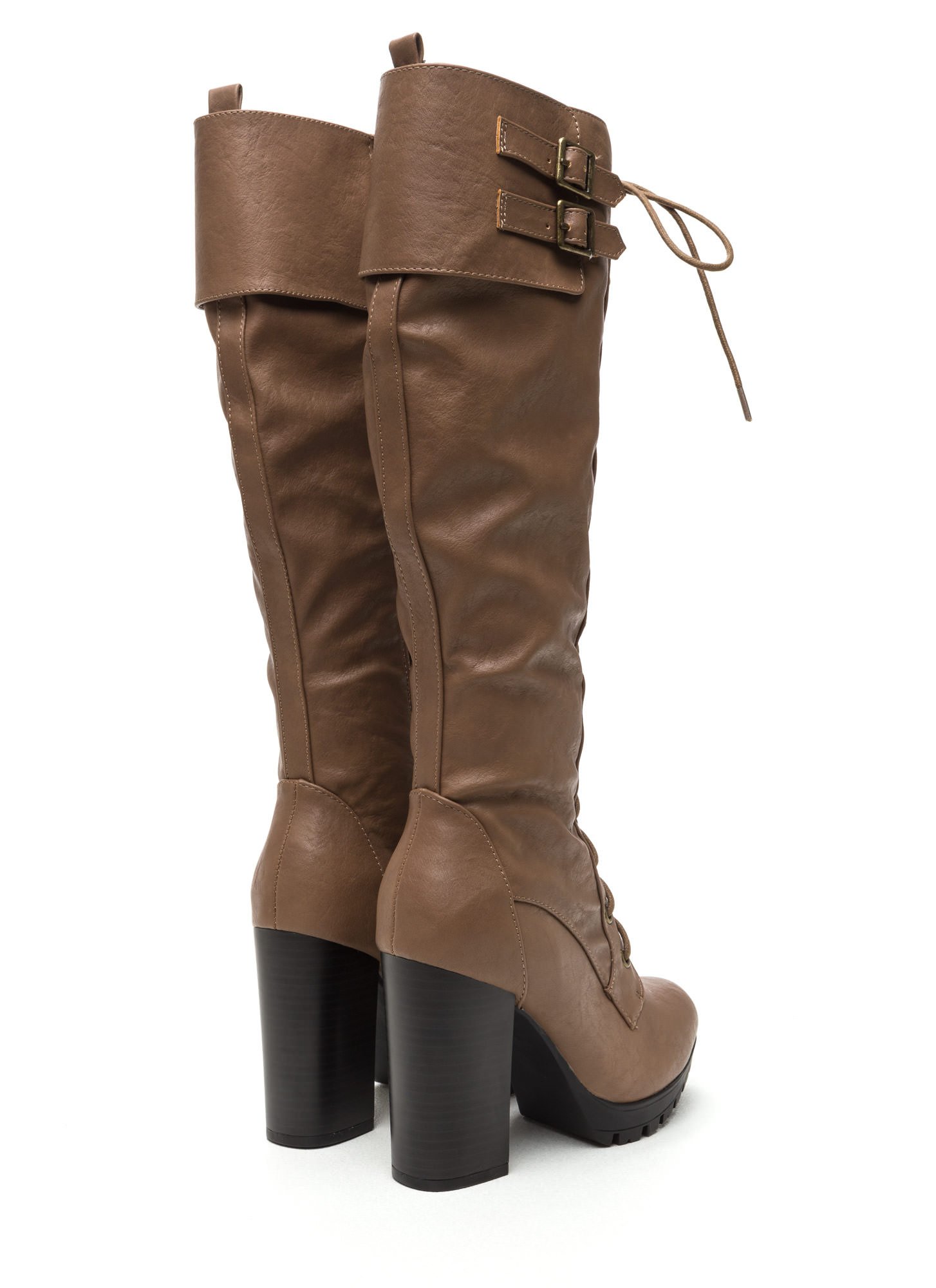 Way Way Way Up Lace-Up Lug Boots TAUPE