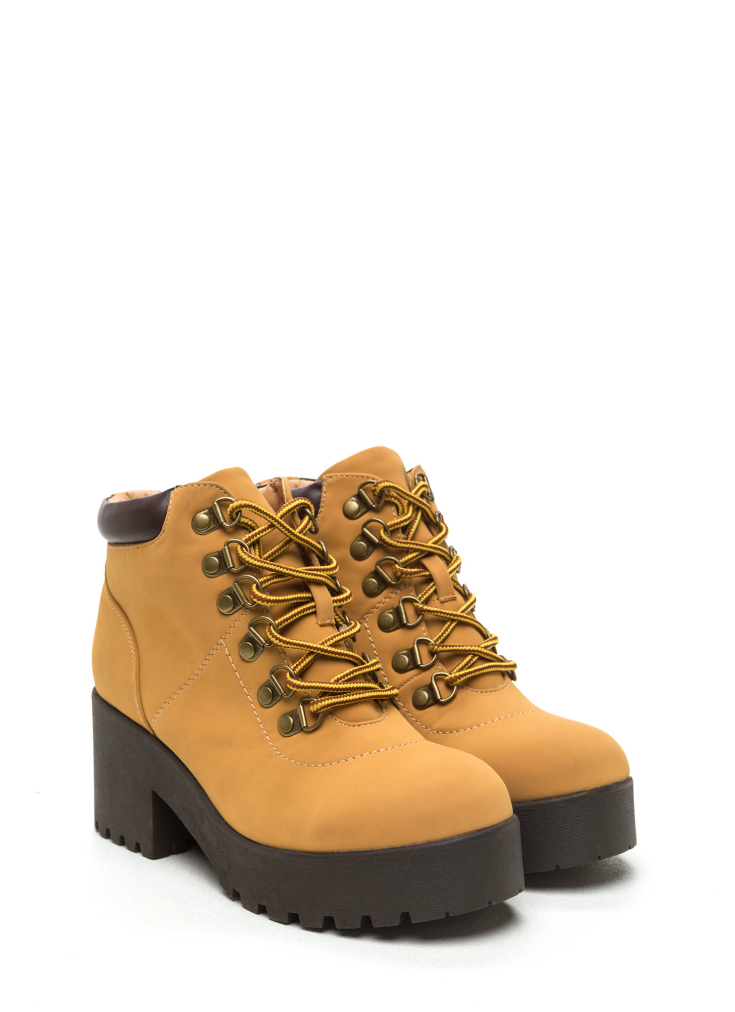 Ready To Work Faux Nubuck Lug Boots CAMEL