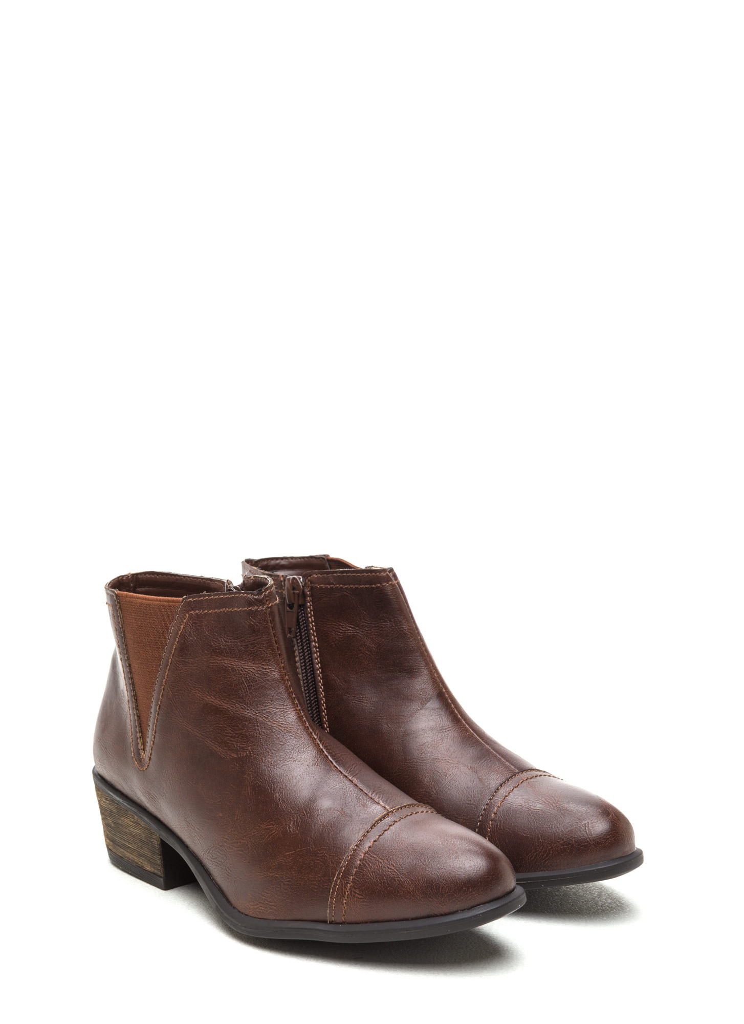 Fave It Faux Leather Booties BROWN