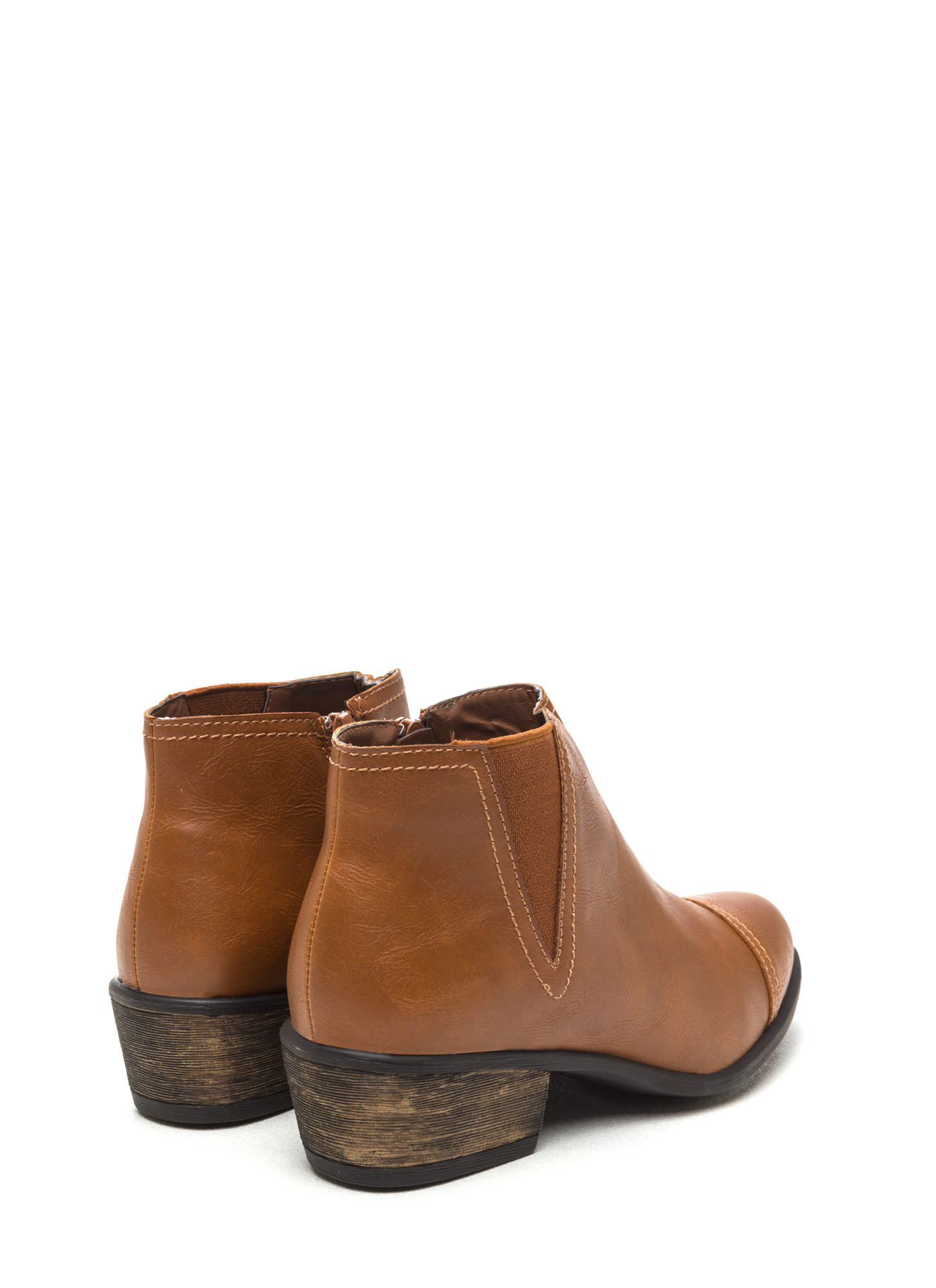Fave It Faux Leather Booties CHESTNUT