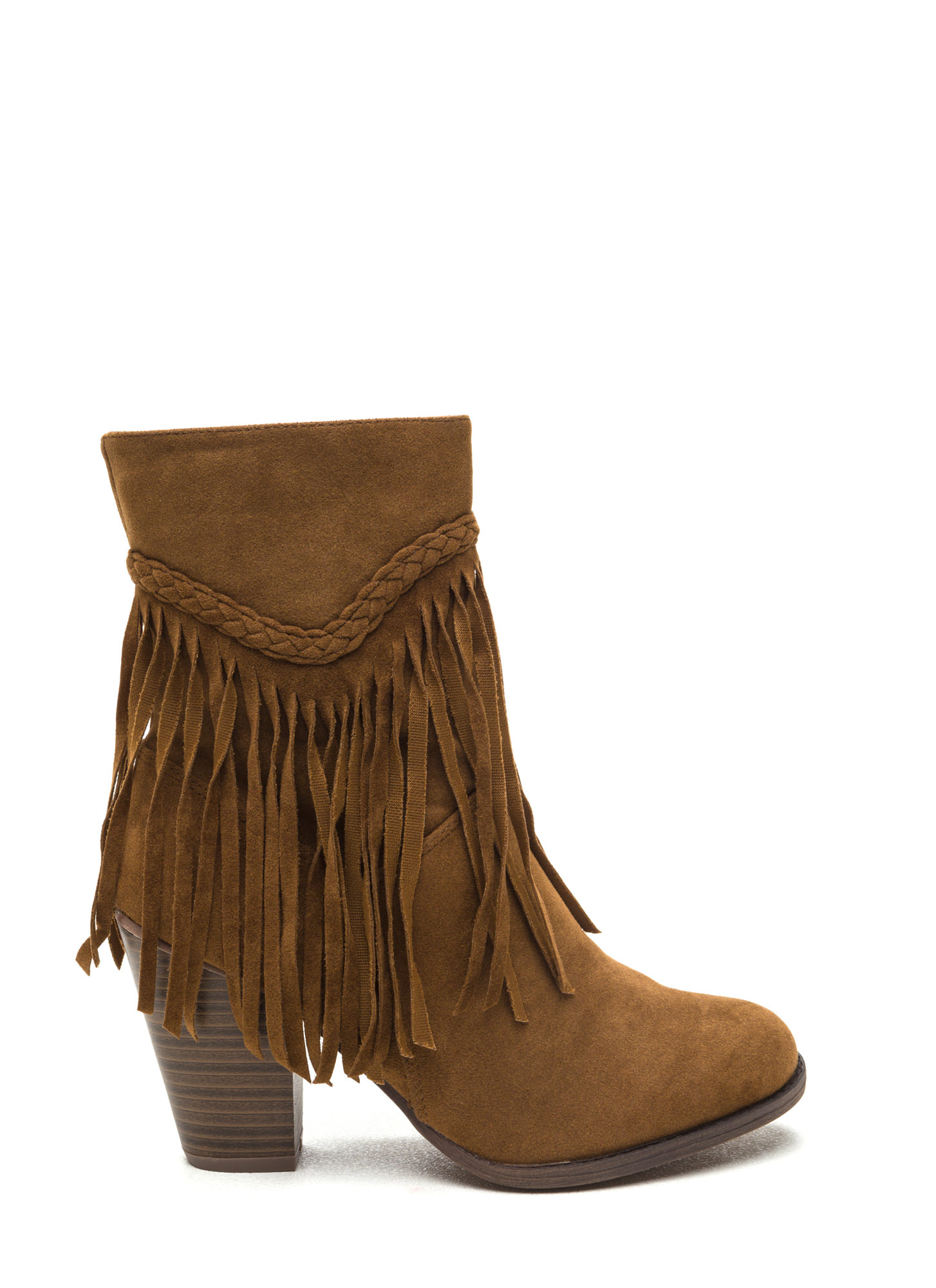 Fringe Value Faux Suede Booties TAN