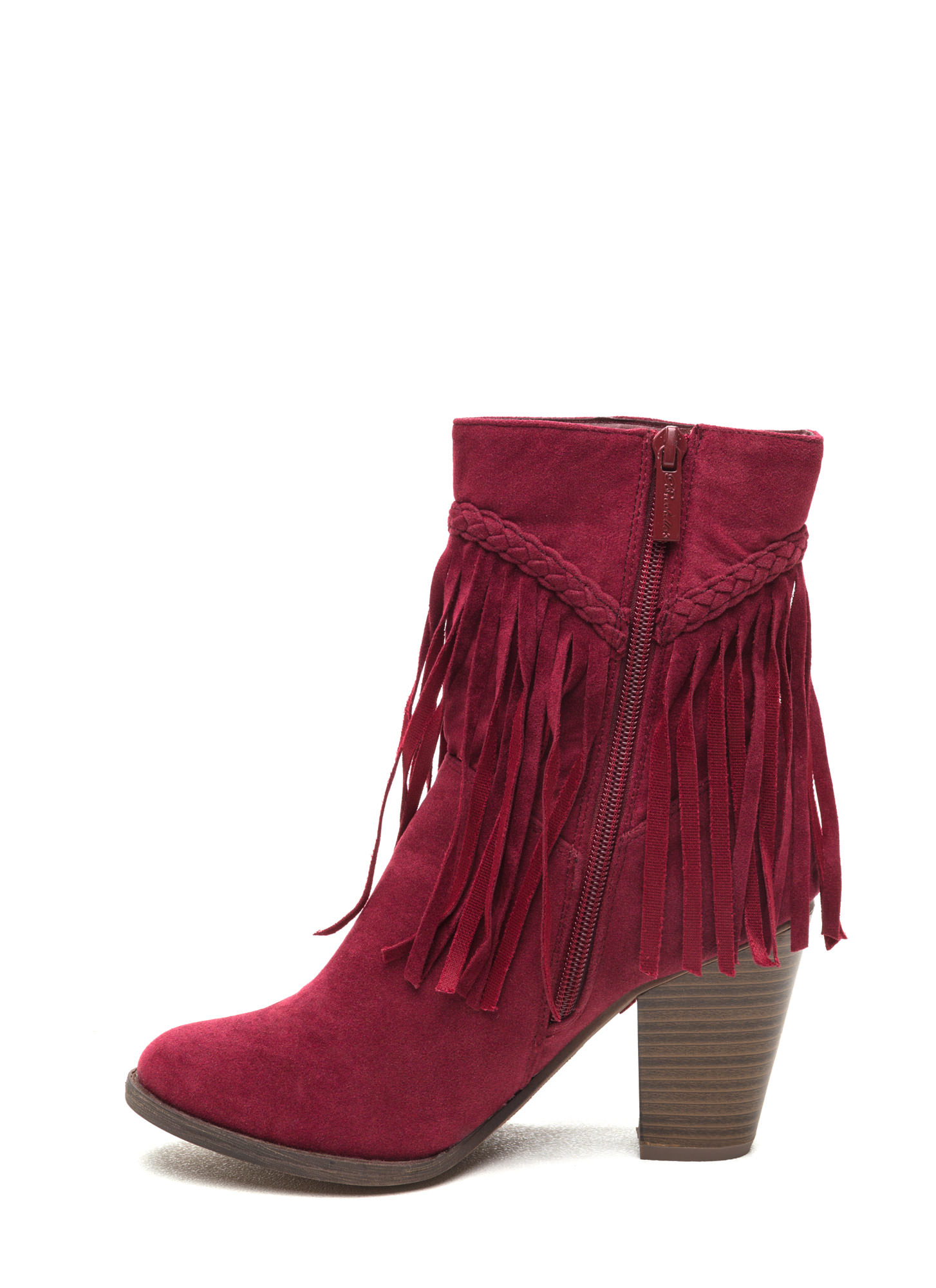 Fringe Value Faux Suede Booties WINE