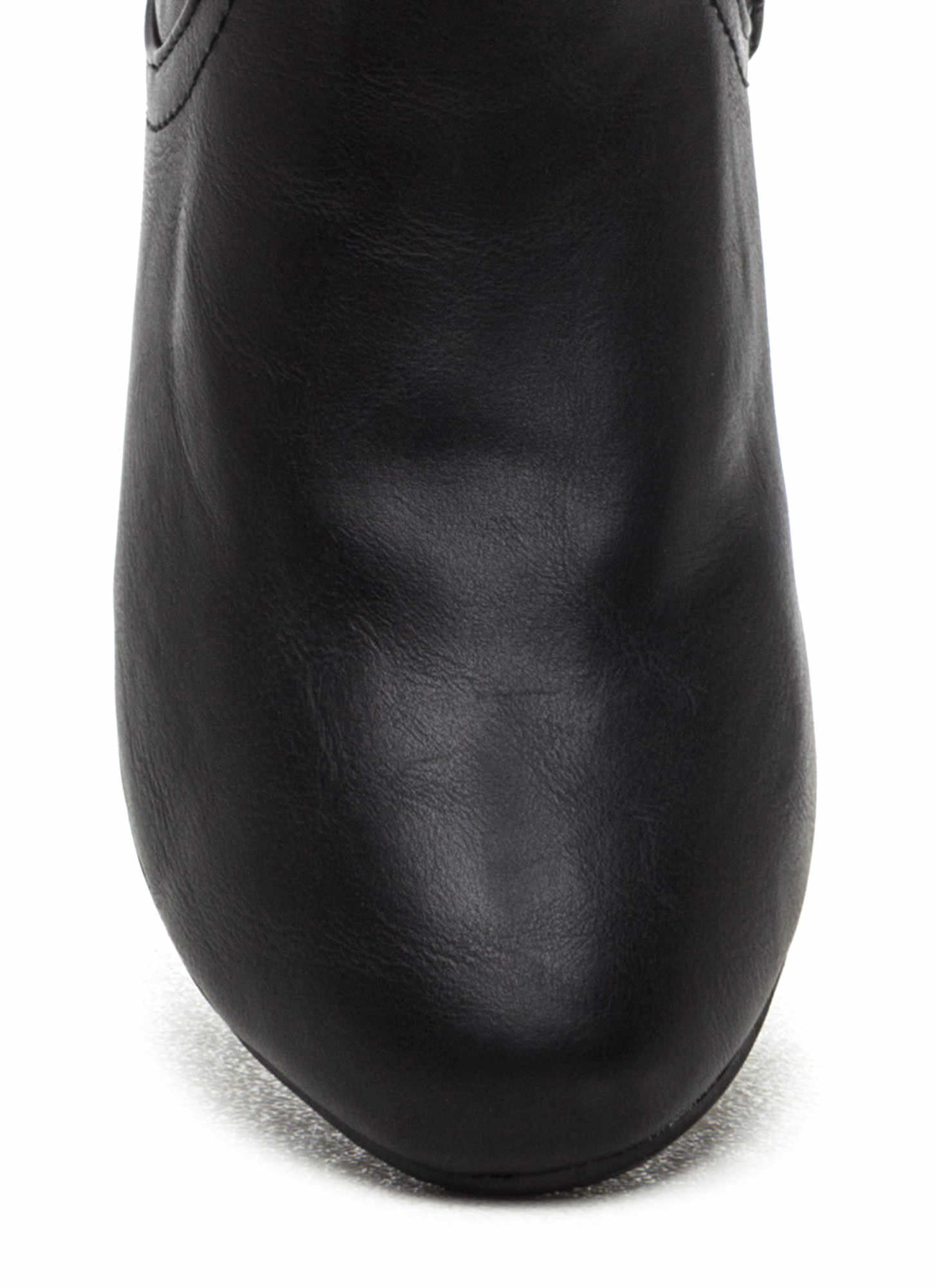 Focal Point Faux Leather Boots BLACK