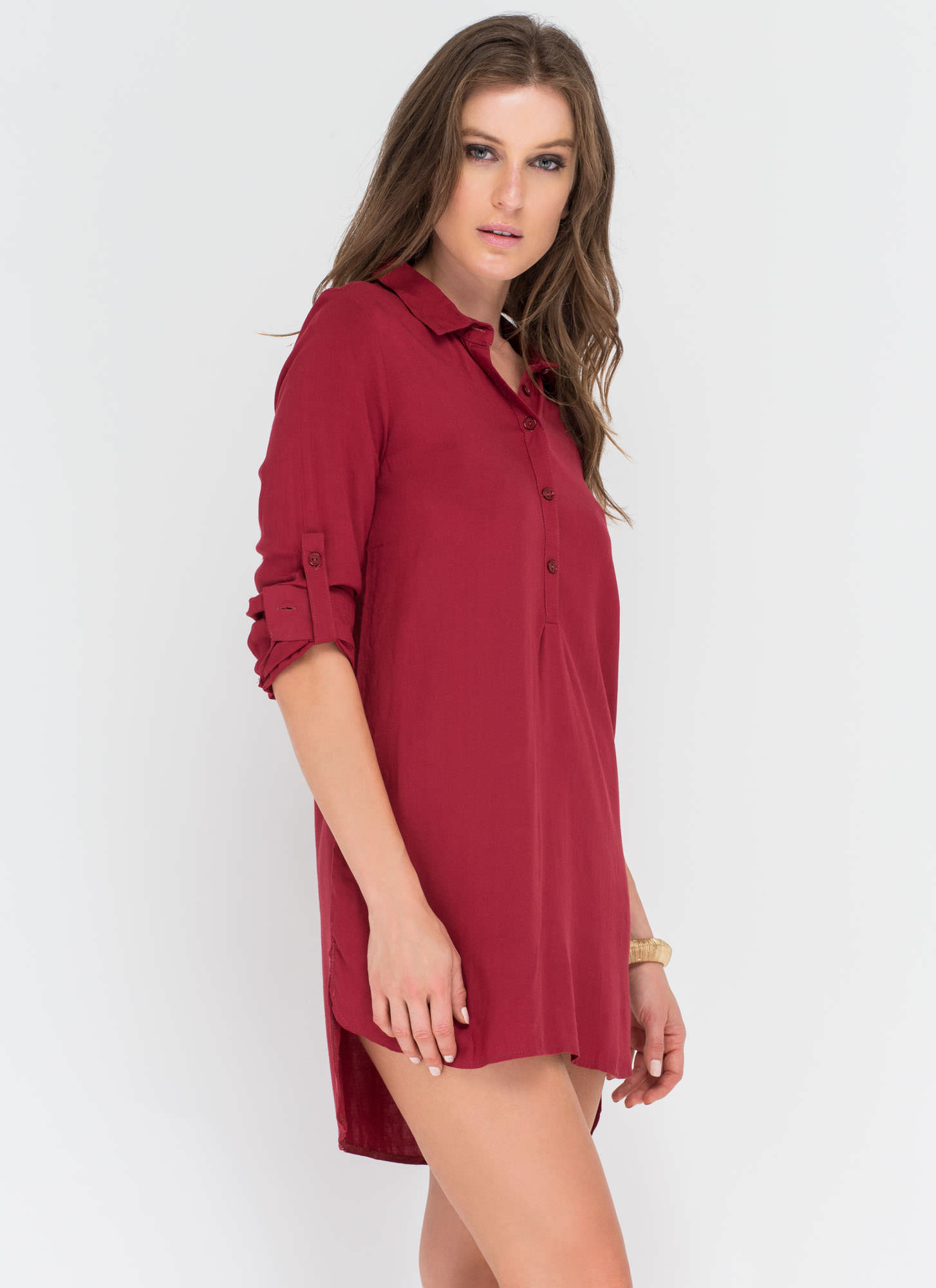 Morning After Collared Button-Up Shirt BURGUNDY