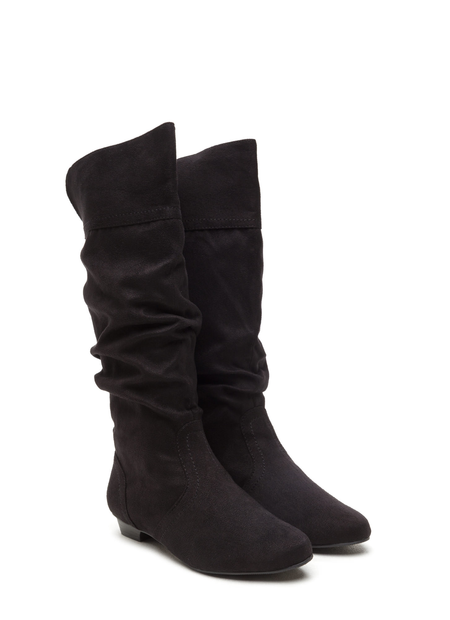Ditch Day Faux Suede Boots BLACK