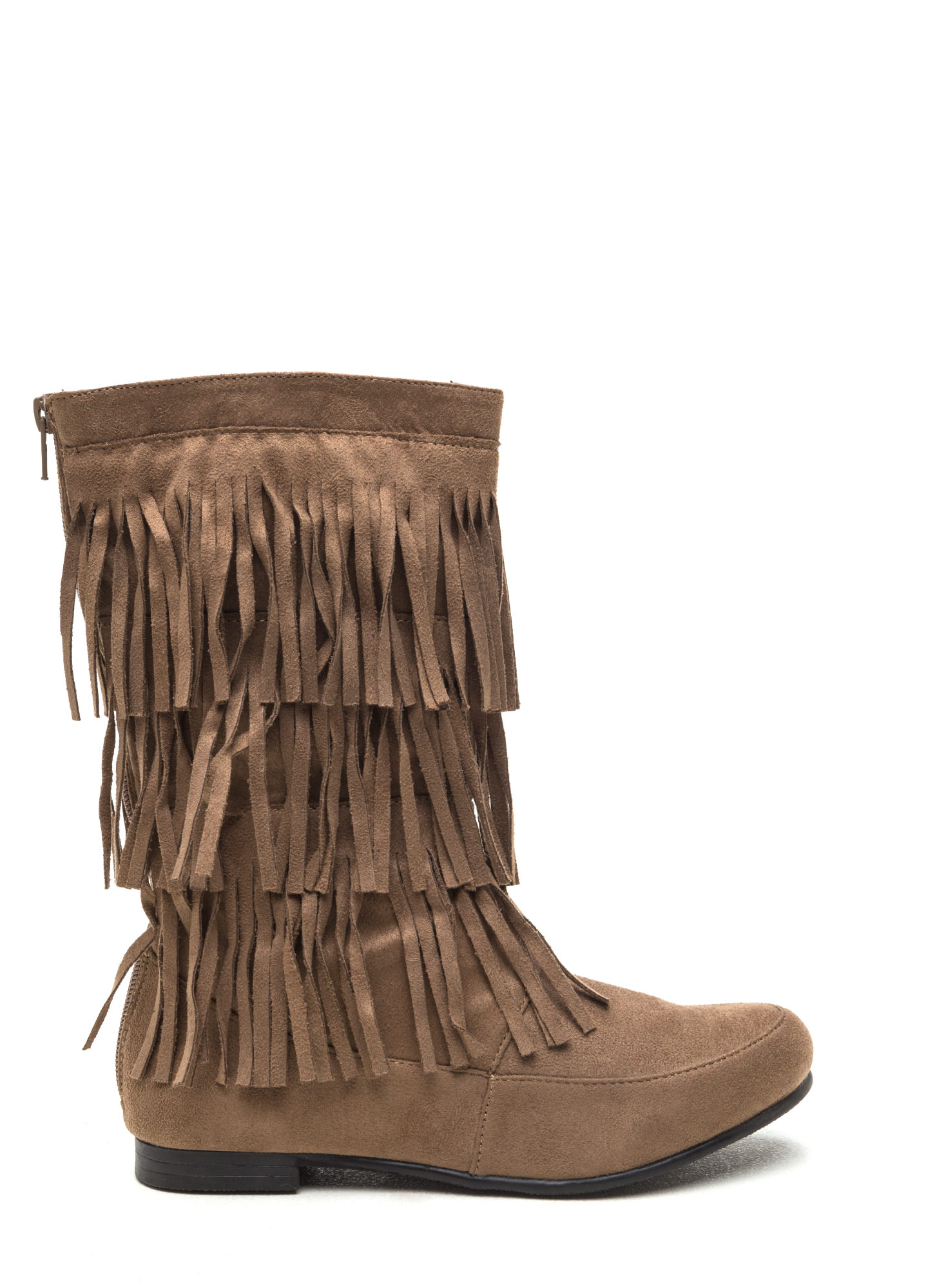 Fringe Swap Faux Suede Boots TAUPE (Final Sale)