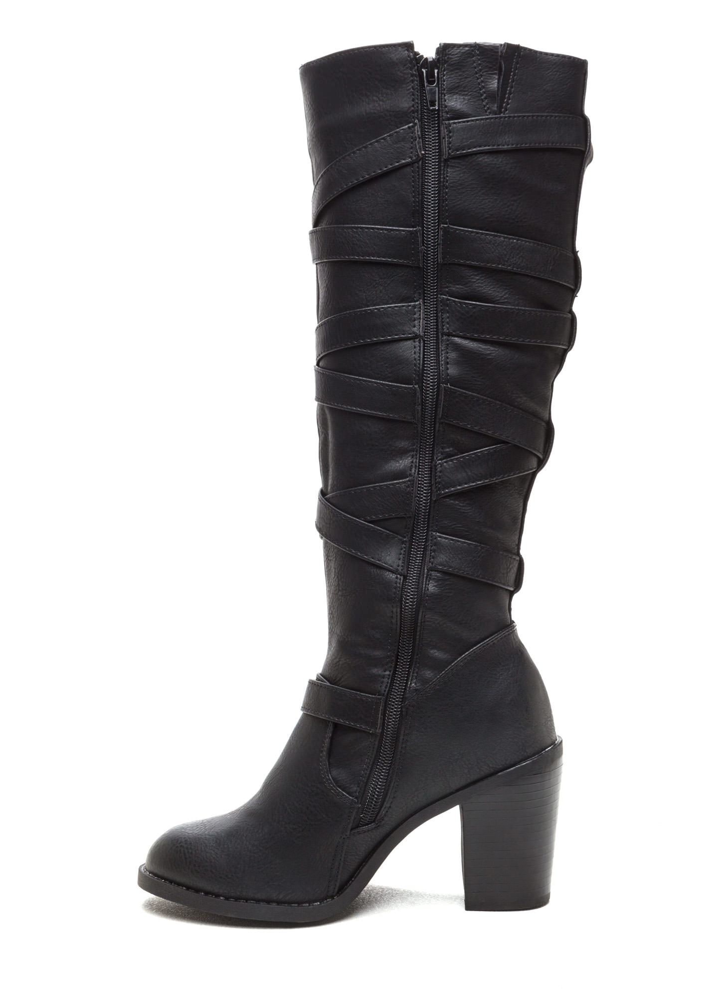 Cross Off Faux Leather Boots BLACK