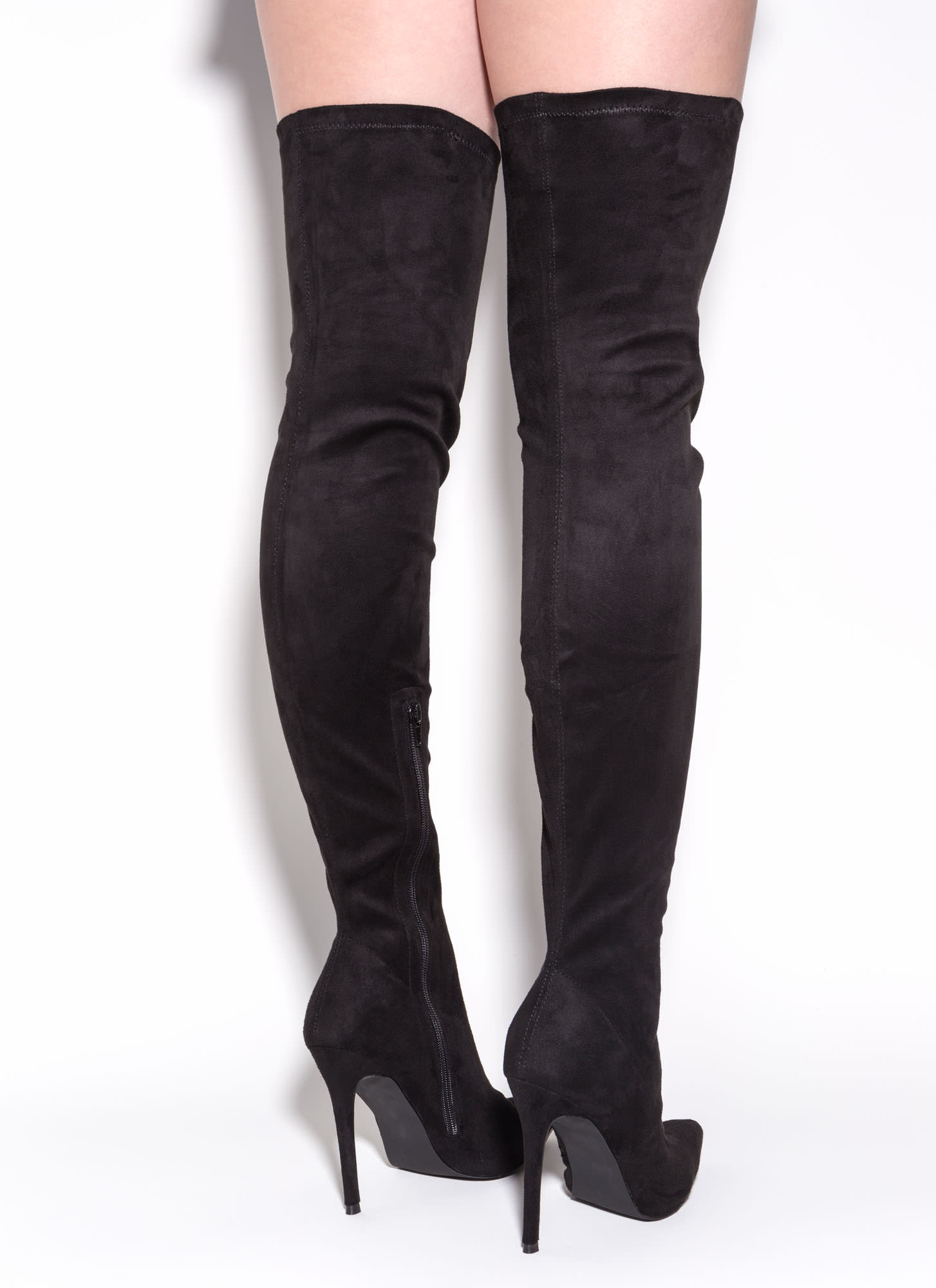 Long Story Chic Thigh High Boots Black Mauve Maroon Olive