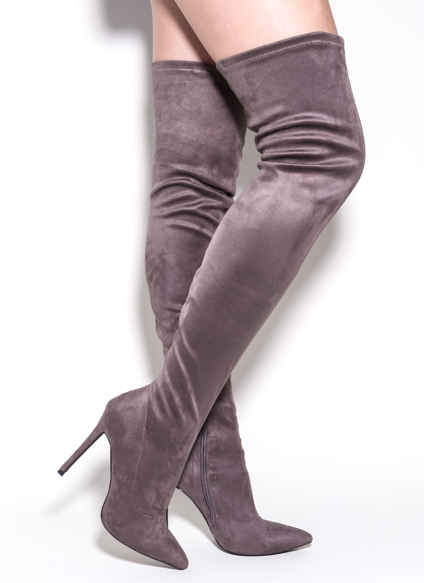 Kitten Heel Thigh High Boots - Is Heel