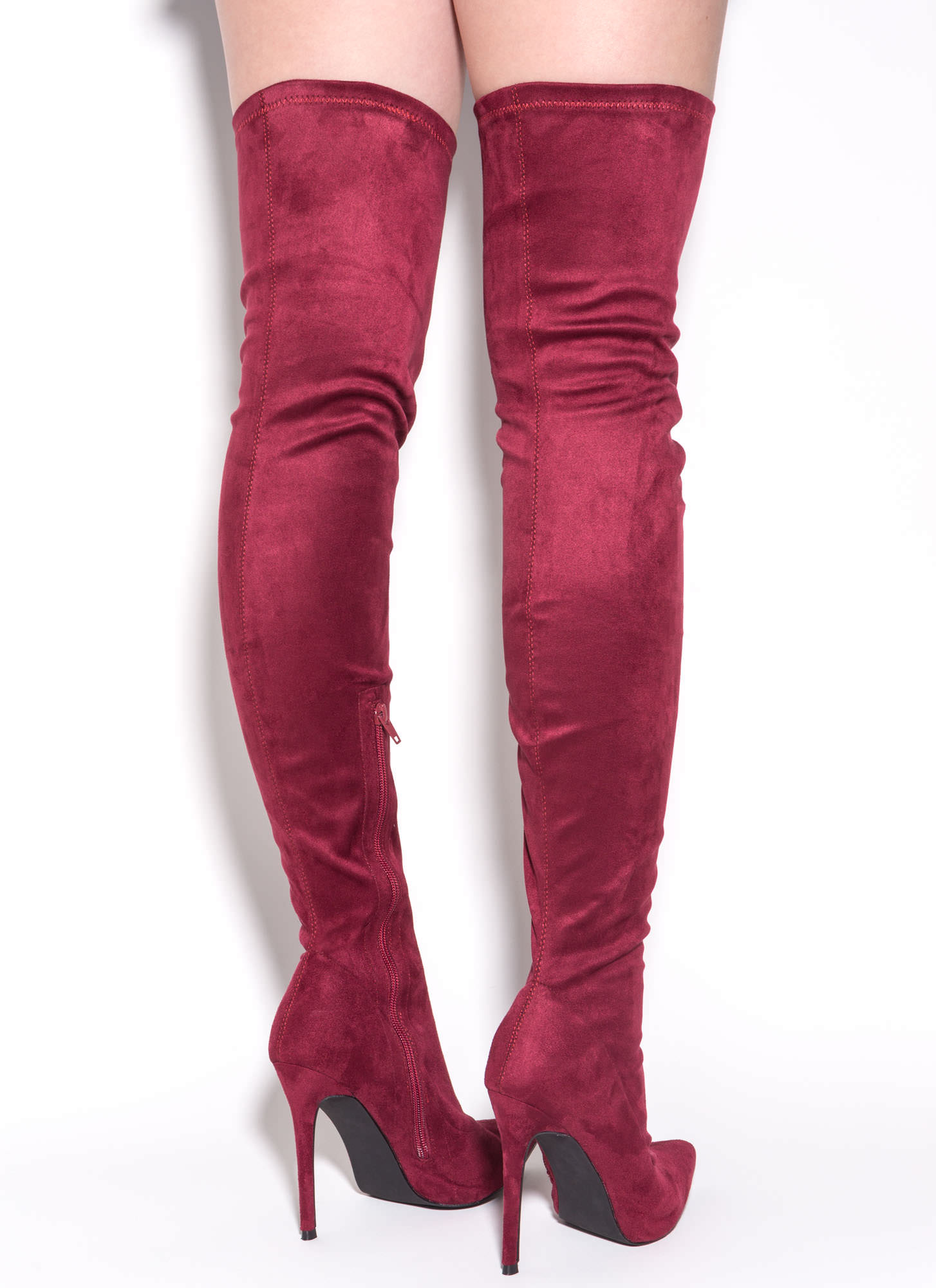 Long Story Chic Thigh-High Boots MAROON