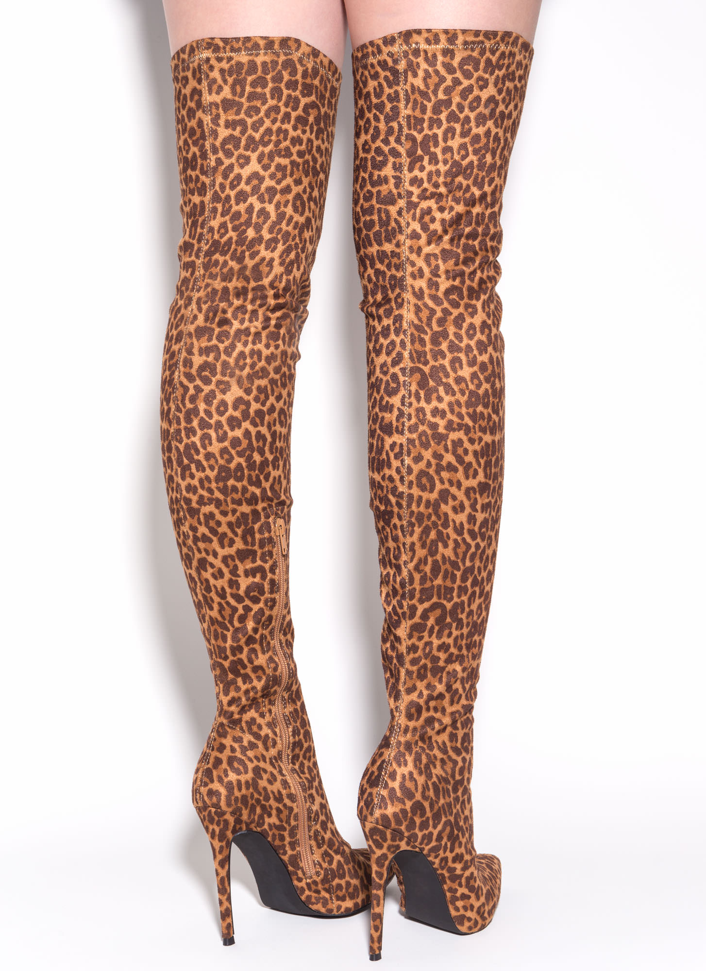Long Story Chic Leopard Thigh-High Boots LEOPARD
