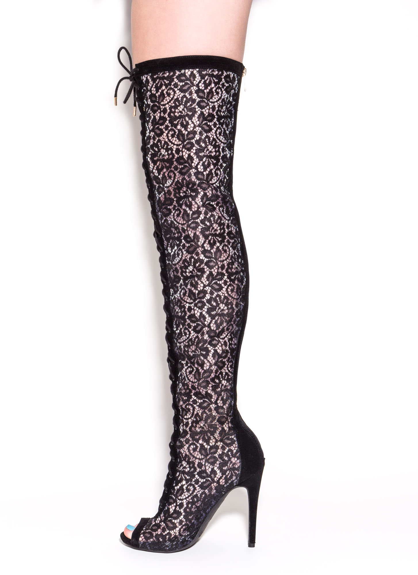 Lace 2 The Top Thigh-High Boots BLACK