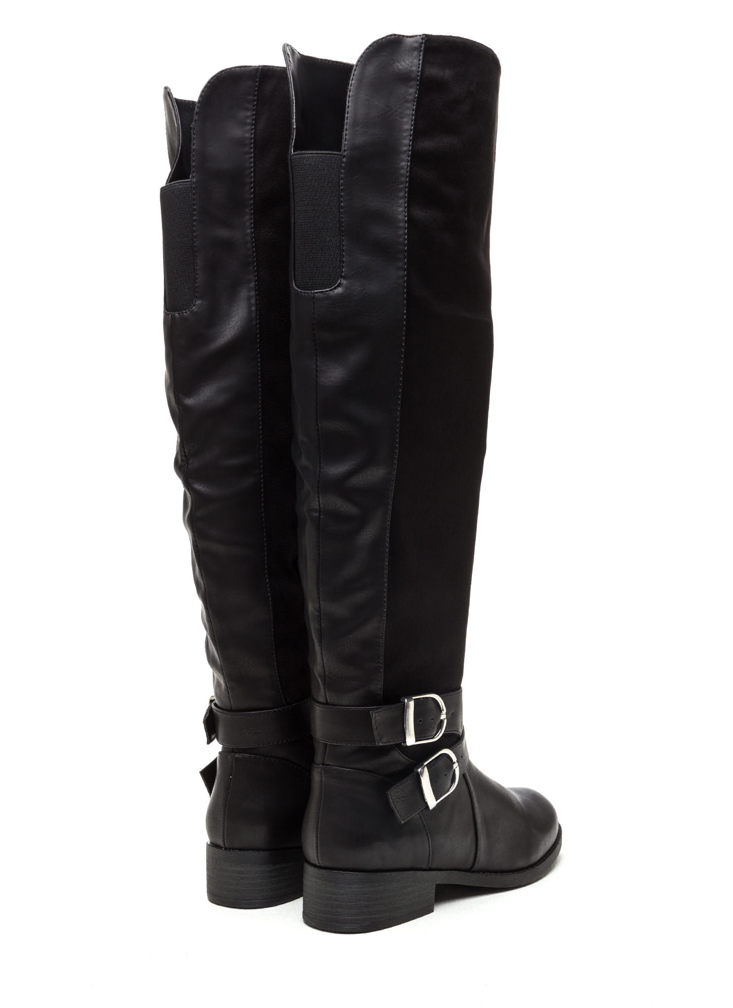 Tall Tales Strappy Mixed Media Boots BLACK