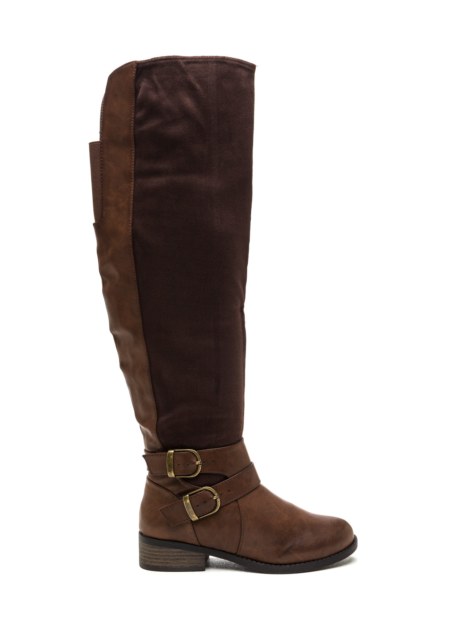 Tall Tales Strappy Mixed Media Boots BROWN